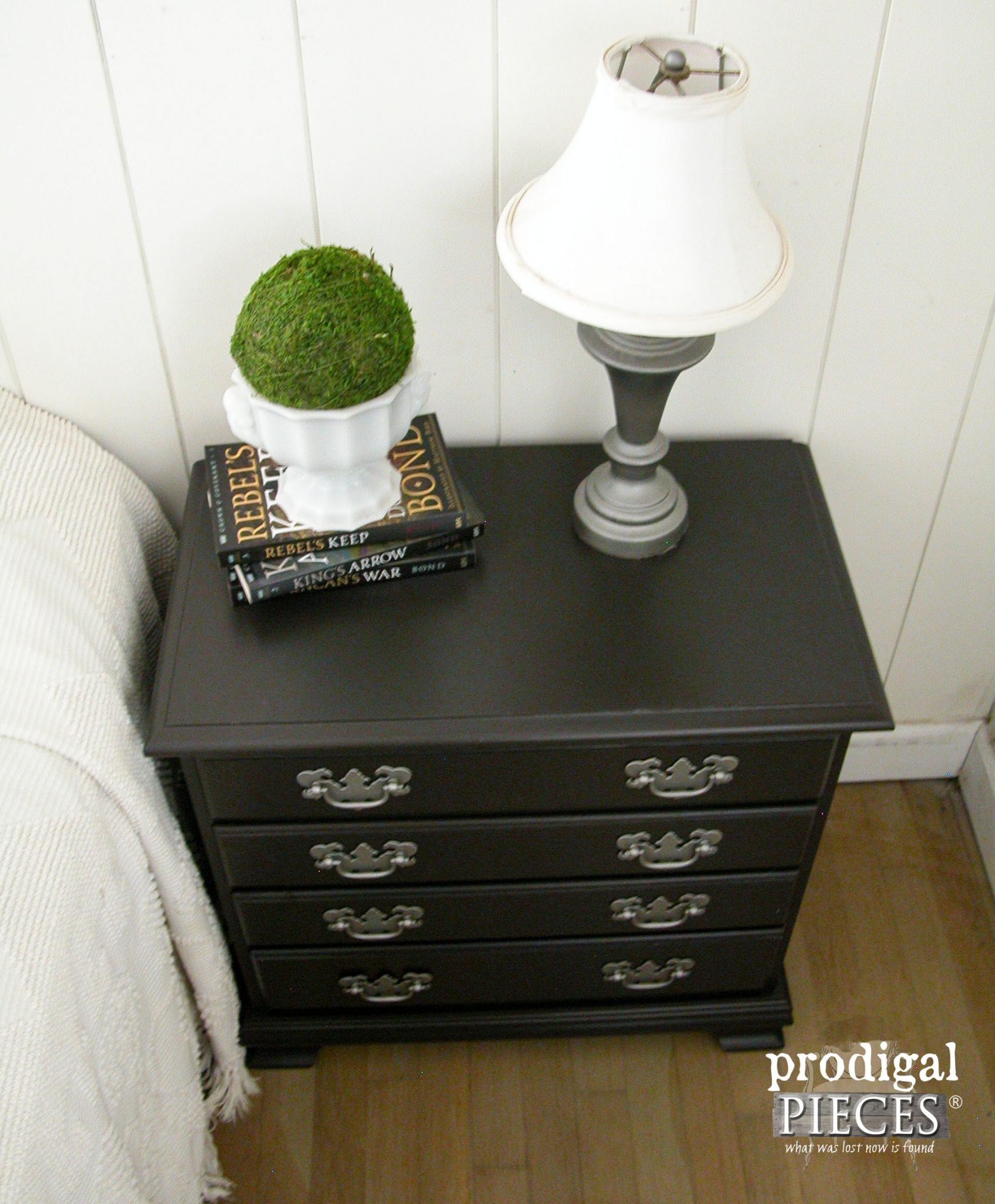 Top of Modern Farmhouse Chic Nightstand | Prodigal Pieces | prodigalpieces.com