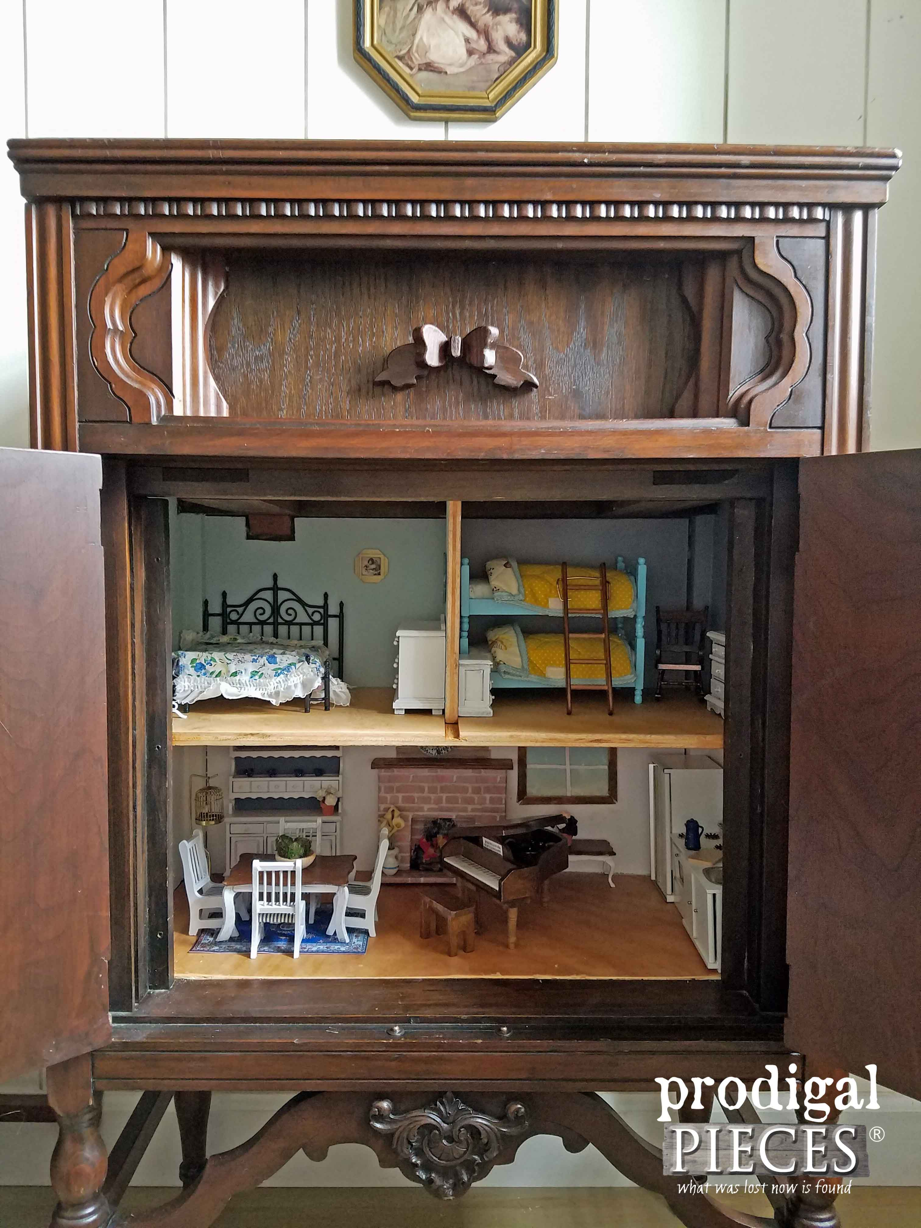 Antique Radio Cabinet Upcycled into Dollhouse by Prodigal Pieces | www.prodigalpieces.com