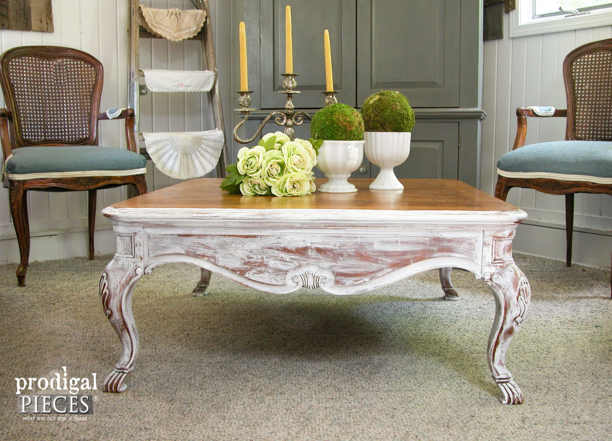 Vintage French Country Coffee Table Makeover By Prodigal Pieces |  Prodigalpieces.com