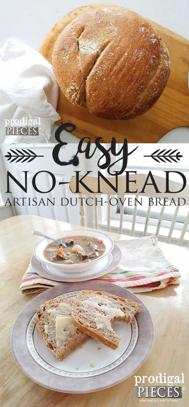 Easy Artisan No-Knead Wheat Bread Recipe by Prodigal Pieces | prodigalpieces.com