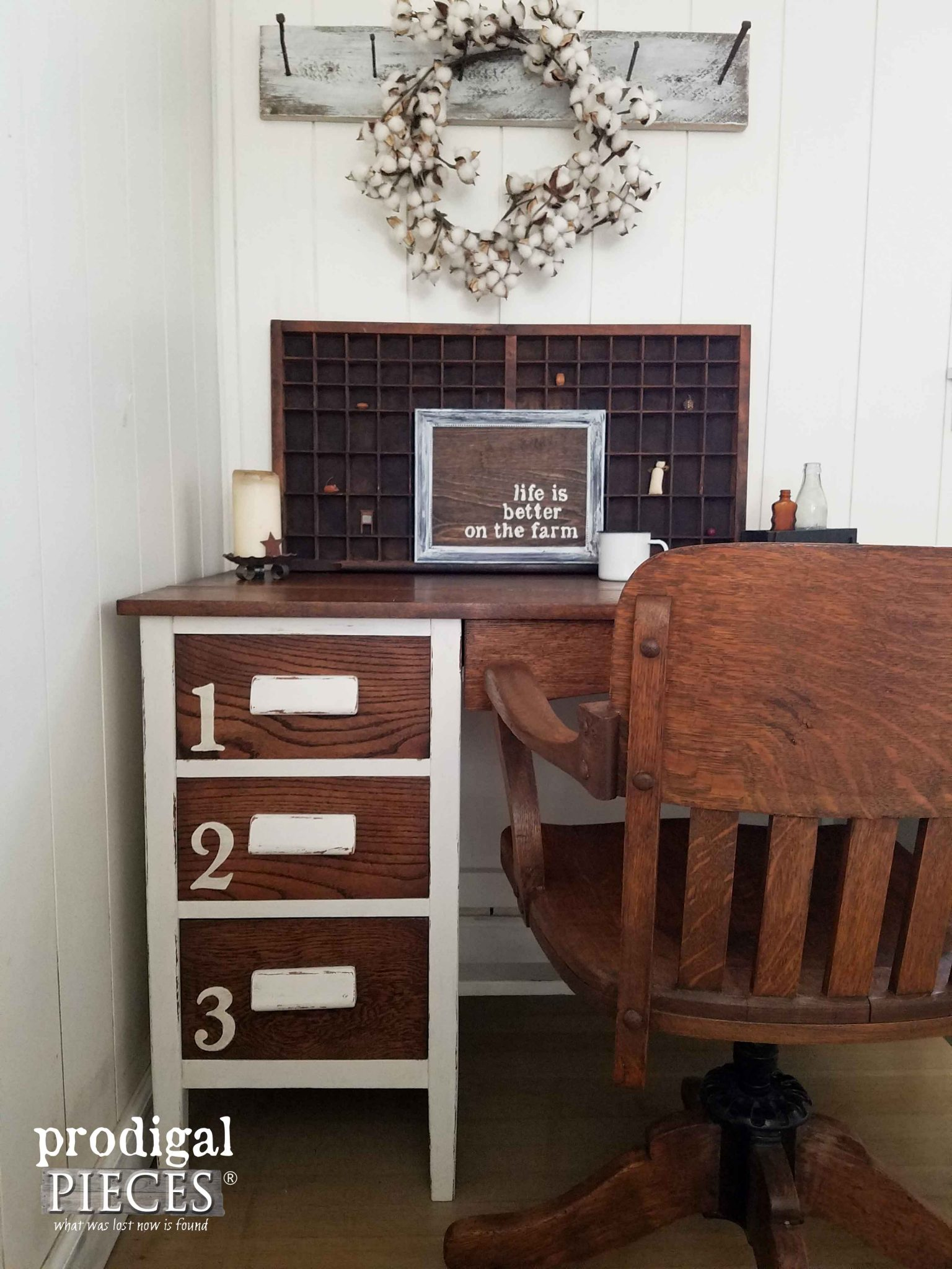 Numbered Drawers on Industrial Oak Desk by Prodigal Pieces | prodigalpieces.com