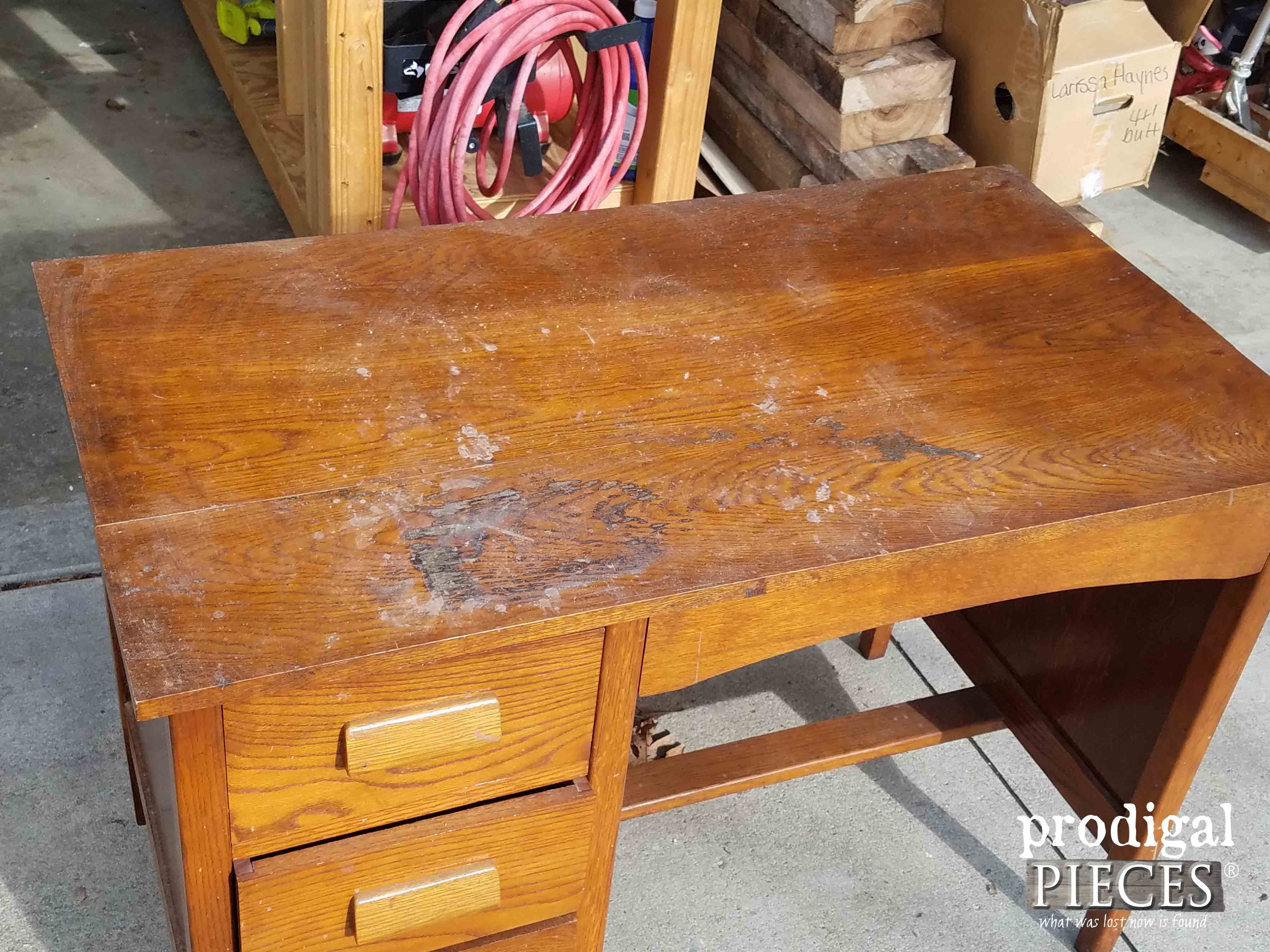 Damaged Top of Oak Desk | Prodigal Pieces | prodigalpieces.com