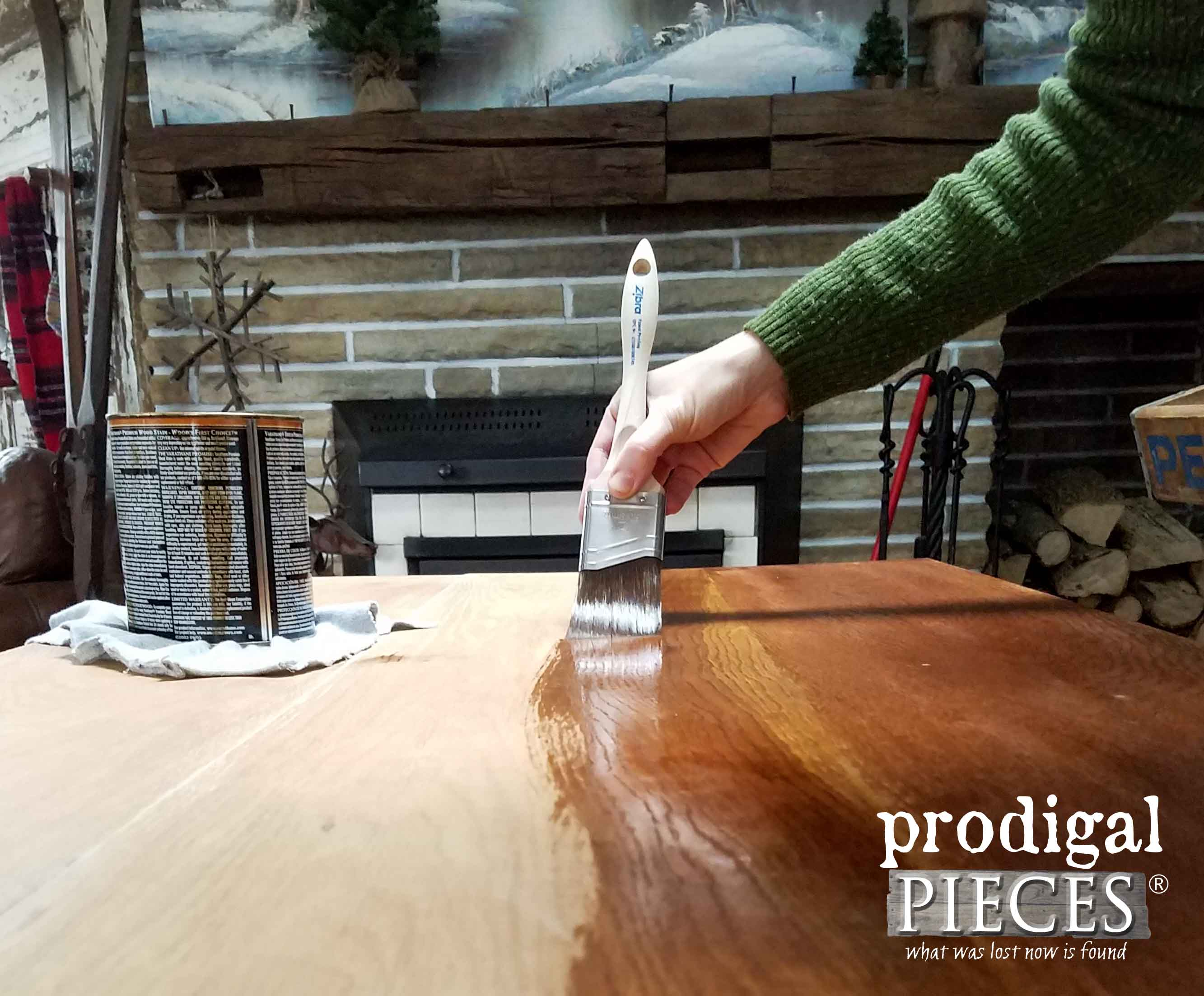 Staining Desk Top with Zibra Brushes | Prodigal Pieces | prodigalpieces.com