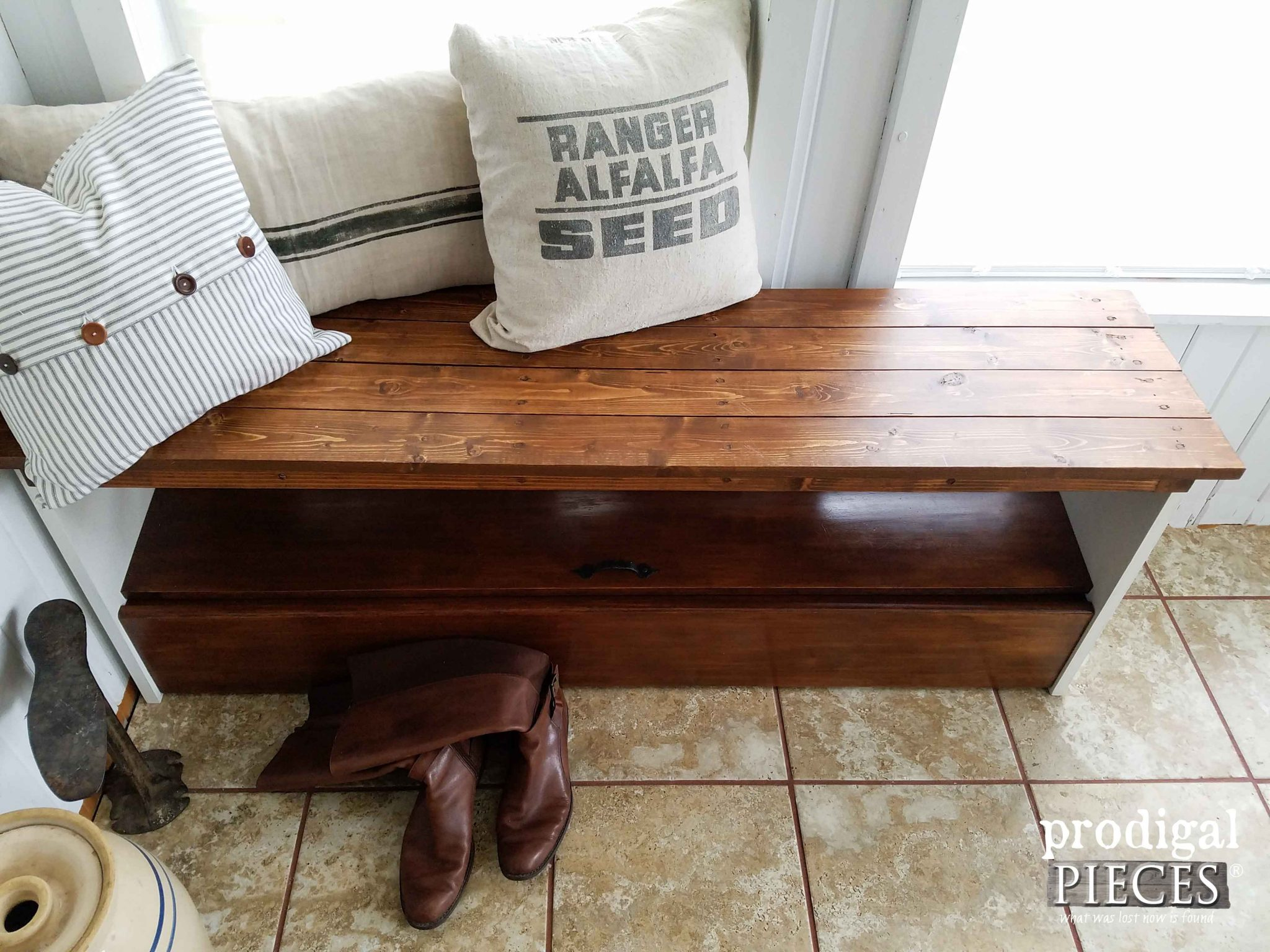 Upcycled Bookcase Headboard Bench with Storage by Prodigal Pieces | prodigalpieces.com