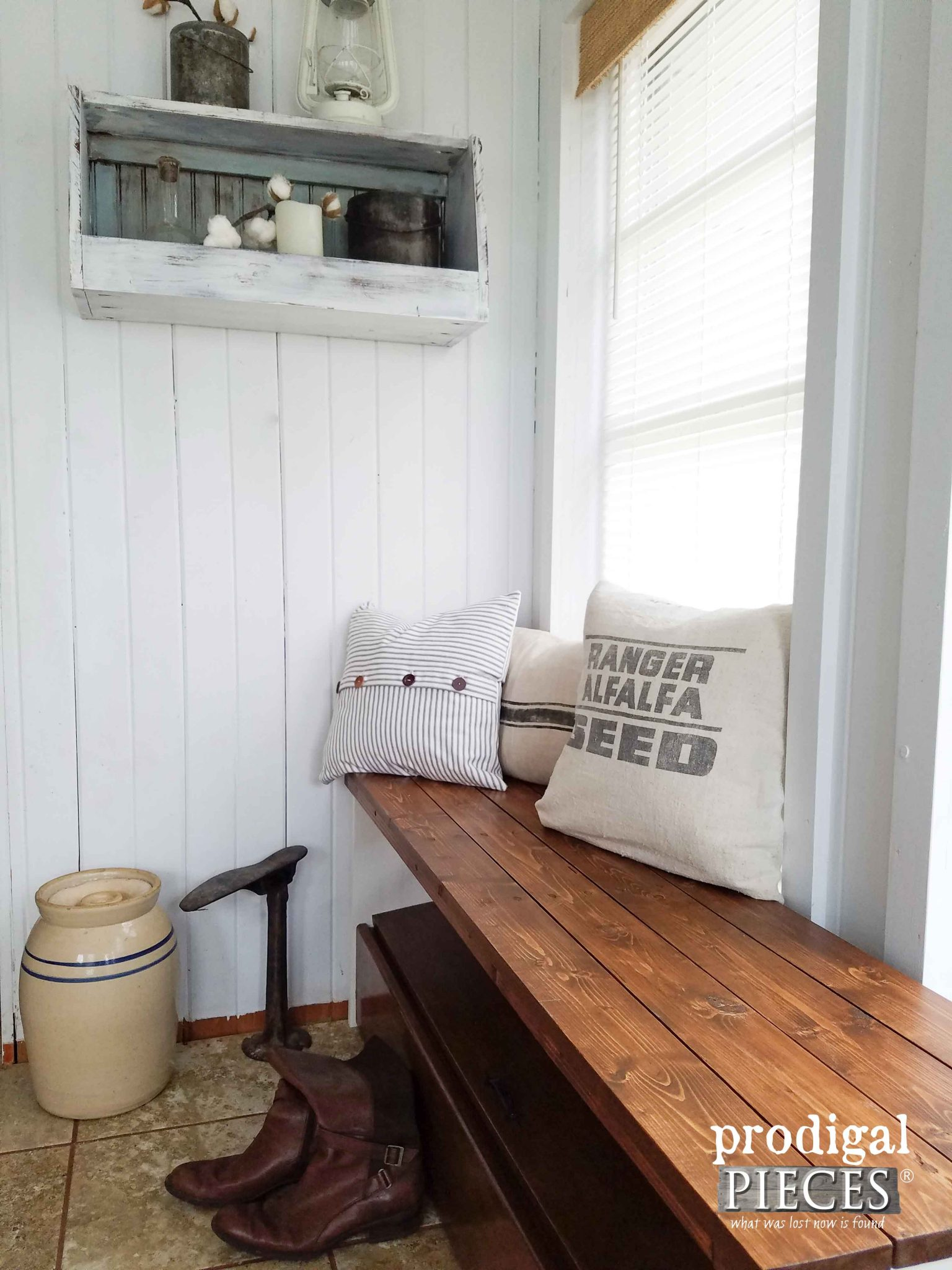 Farmhouse Style Entry with Repurposed Storage Bench & Wall Bin by Prodigal Pieces | prodigalpieces.com