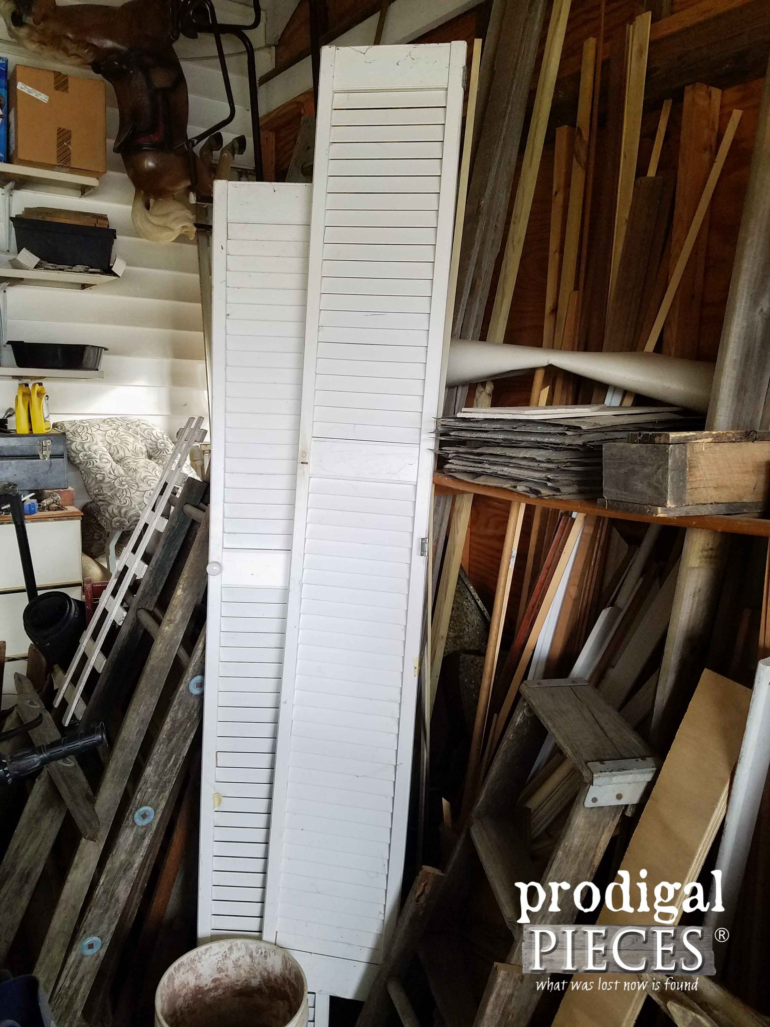 Old Louver Doors Before Makeover by Prodigal Pieces | prodigalpieces.com