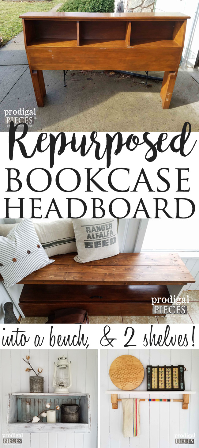 Unbelievable! A Repurposed Bookcase Headboard becomes 3 New Projects, Including a Bench, Wall Bin, and Shelf by Prodigal Pieces | prodigalpieces.com