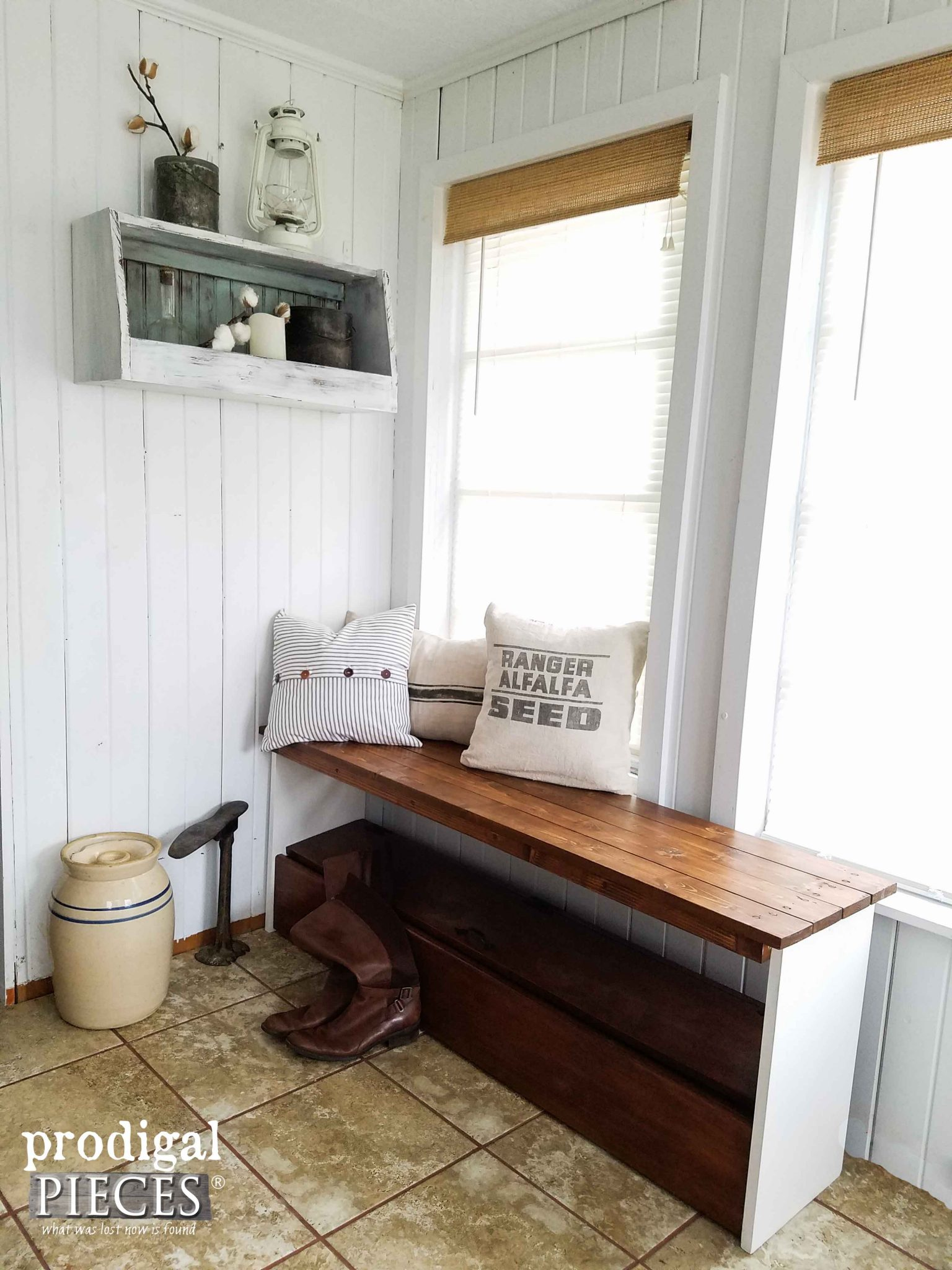 Rustic Repurposed Headboard Bench & Wall Shelf by Prodigal Pieces | prodigalpieces.com