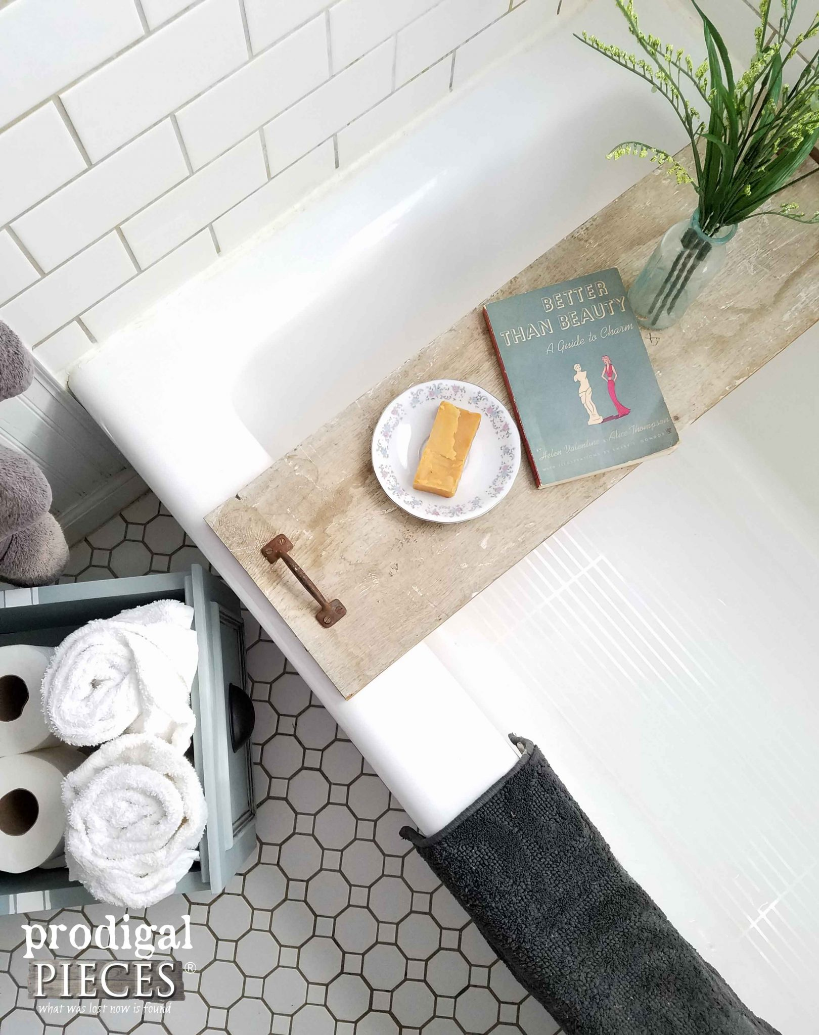 Overhead View of DIY Bathtub Tray and DIY Storage by Prodigal Pieces | prodigalpieces.com