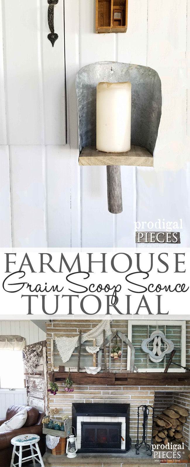DIY Farmhouse Grain Scoop Sconce with Step-by-Step Tutorial by Prodigal Pieces | prodigalpieces.com