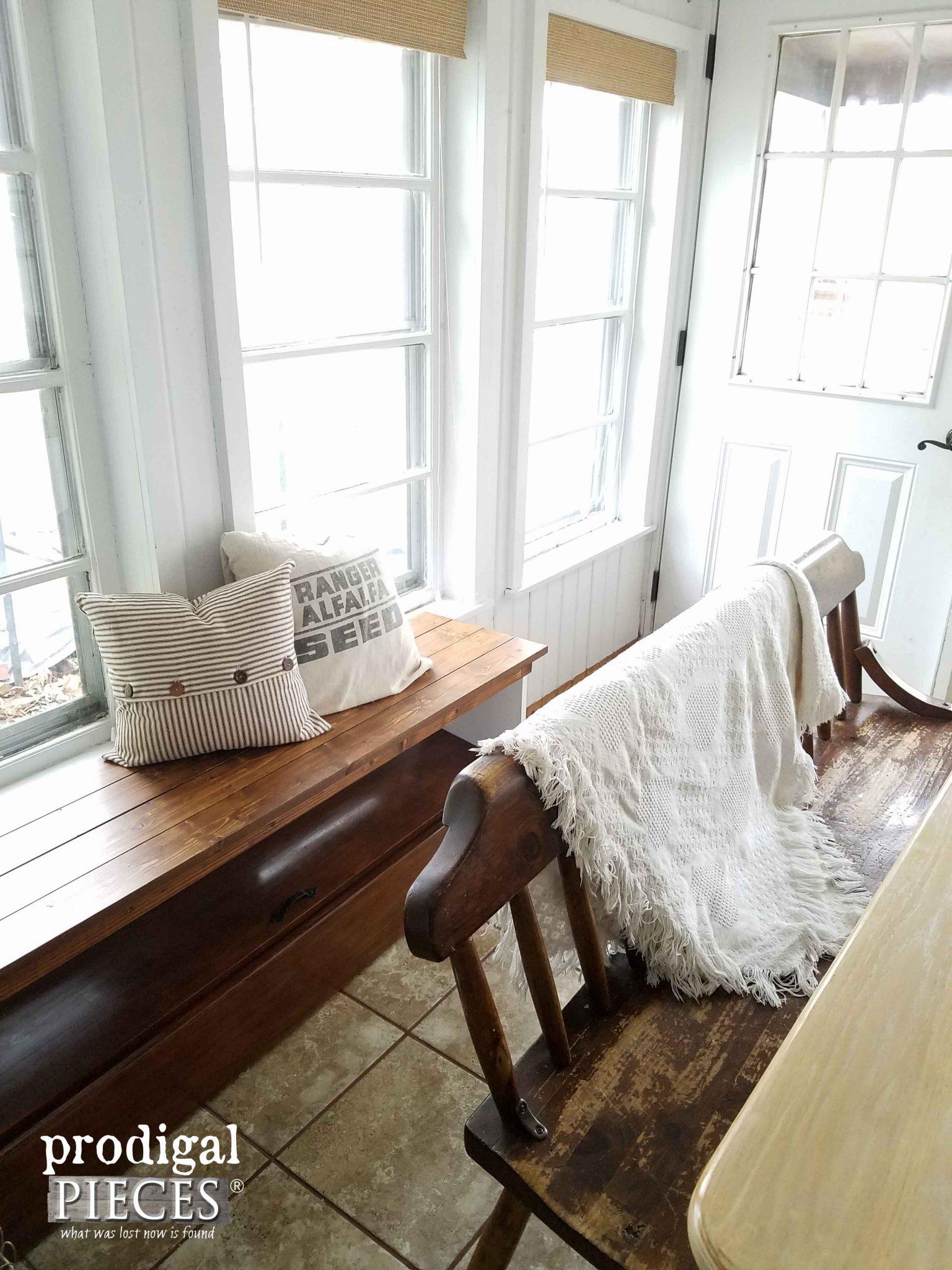 Farmhouse Benches ~ One from a repurposed headboard and the other a vintage find. Fun! | Prodigal Pieces | prodigalpieces.com