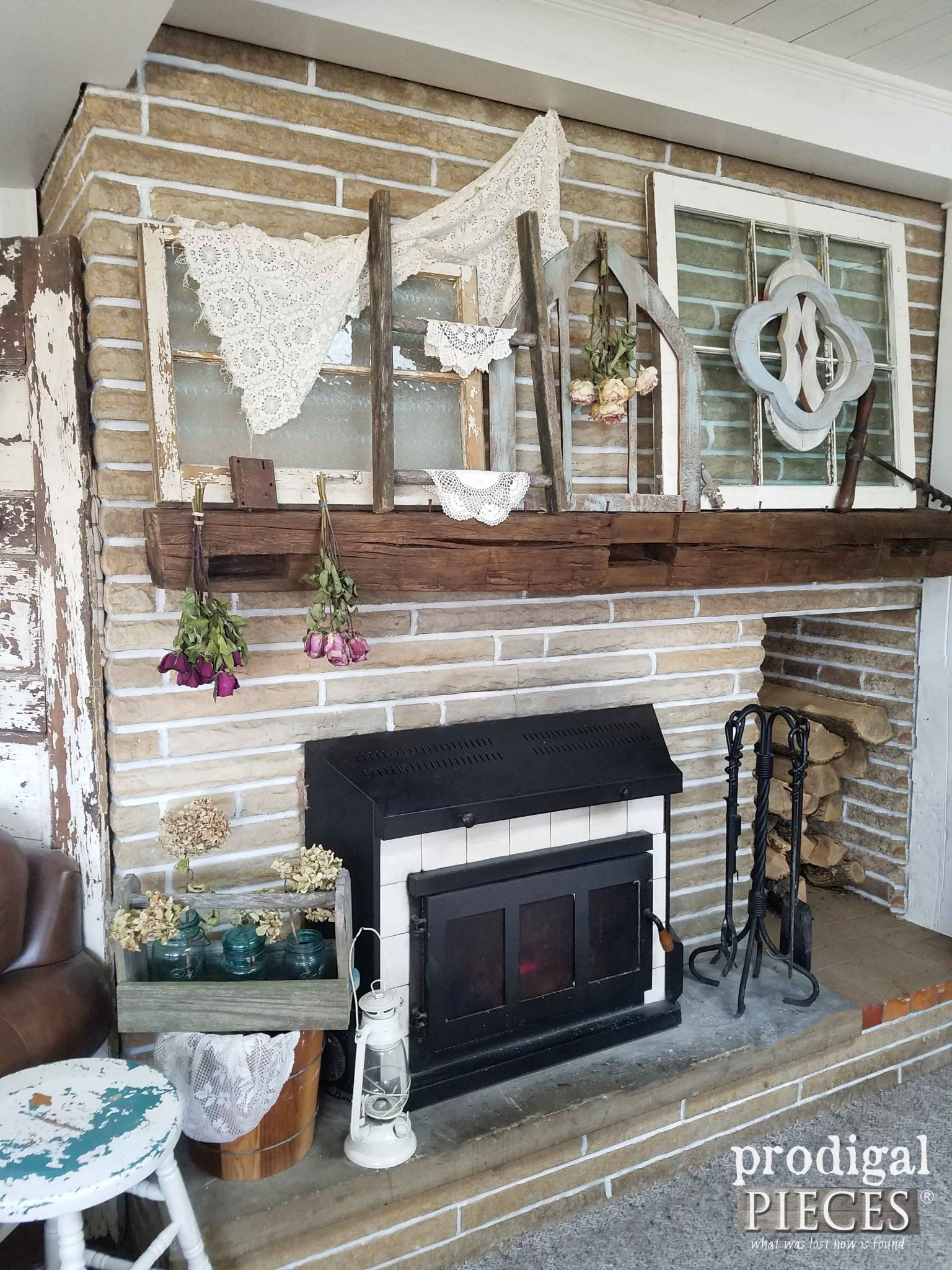 Farmhouse Fireplace with Salvaged Style Decor | Prodigal Pieces | prodigalpieces.com