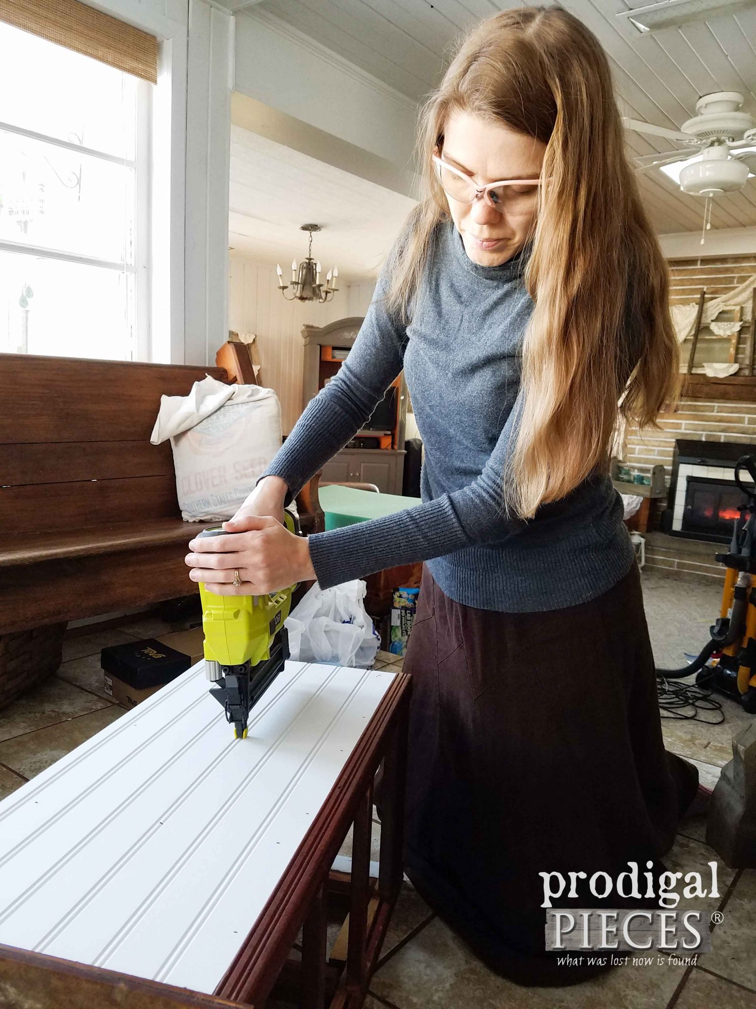 Adding Beadboard to Cabinet with Ryobi Cordless Nailer | Prodigal Pieces | prodigalpieces.com