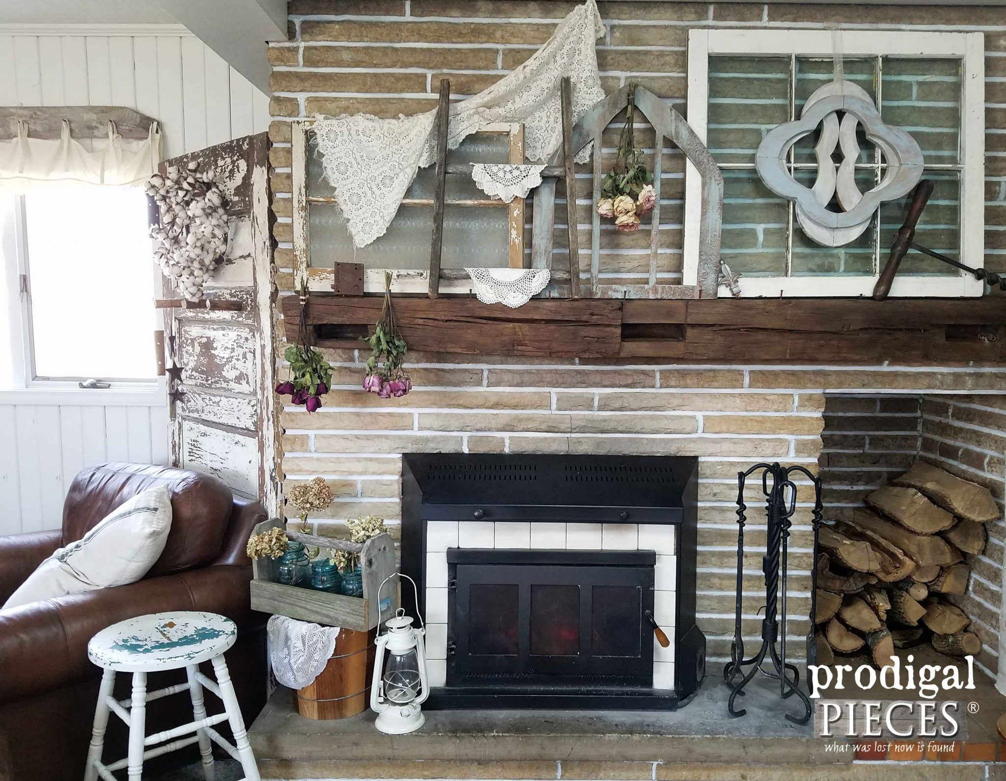 Salvage Style Fireplace Decor by Prodigal Pieces | prodigalpieces.com