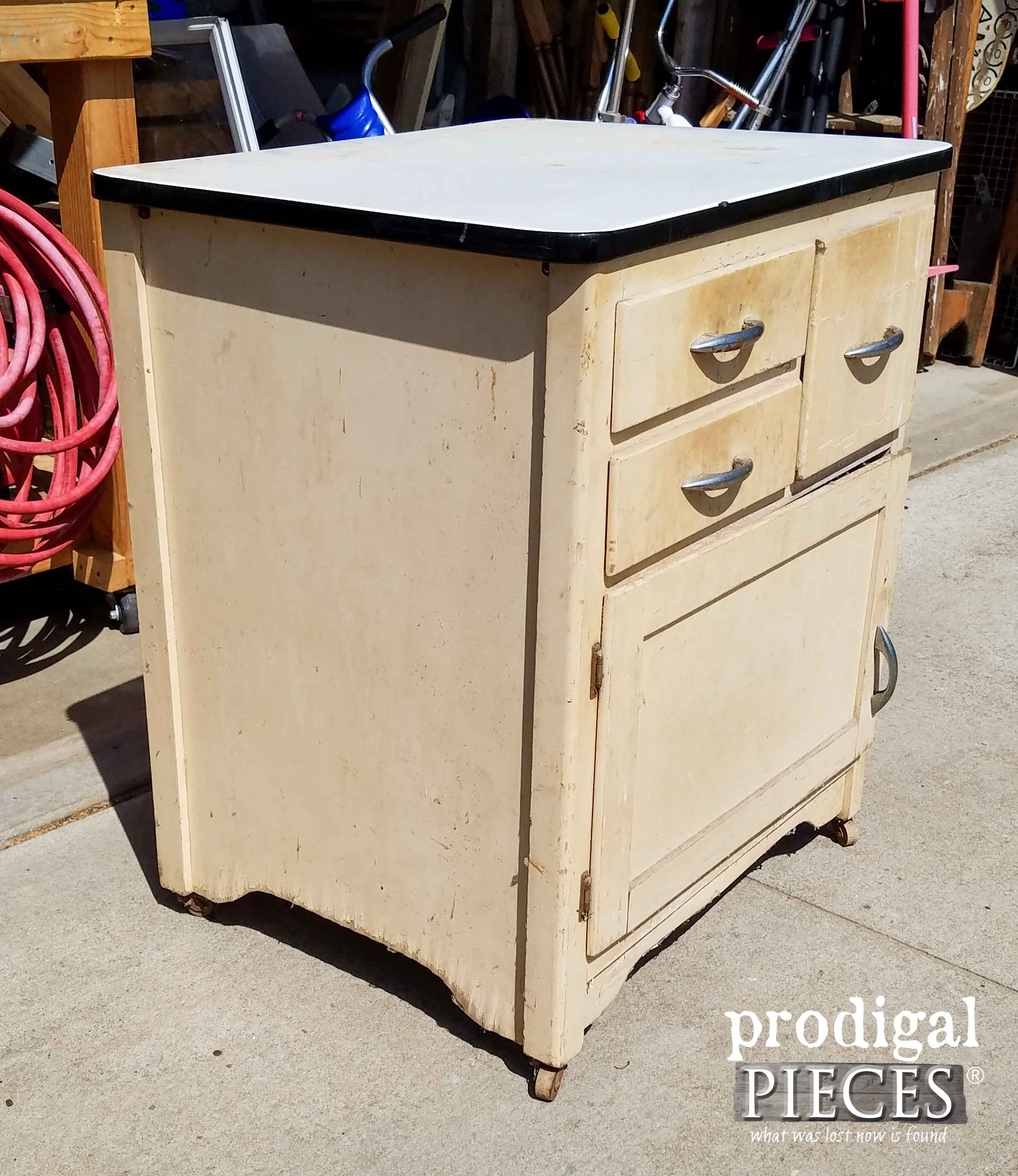 Side of Enamel Cabinet with Damage | Prodigal Pieces | prodigalpieces.com
