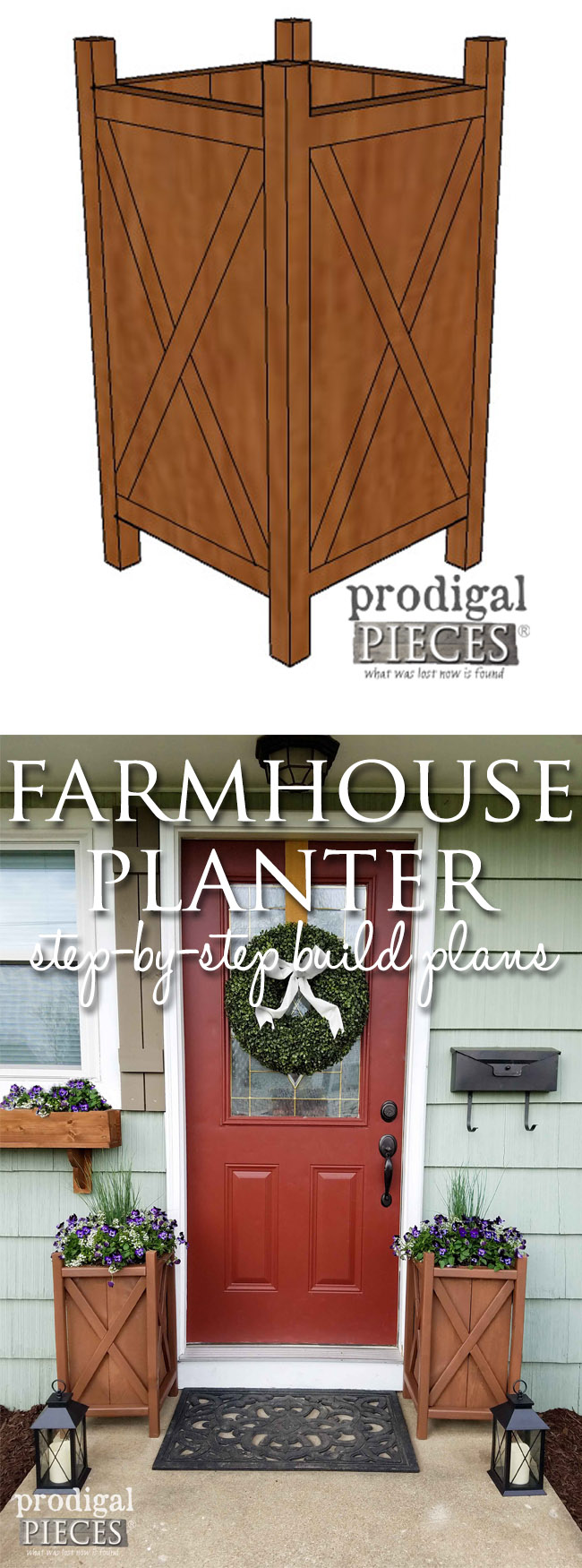 Create Curb Appeal with this easy-to-follow build plans for a farmhouse planter. Video included! Head to Prodigal Pieces | prodigalpieces.com