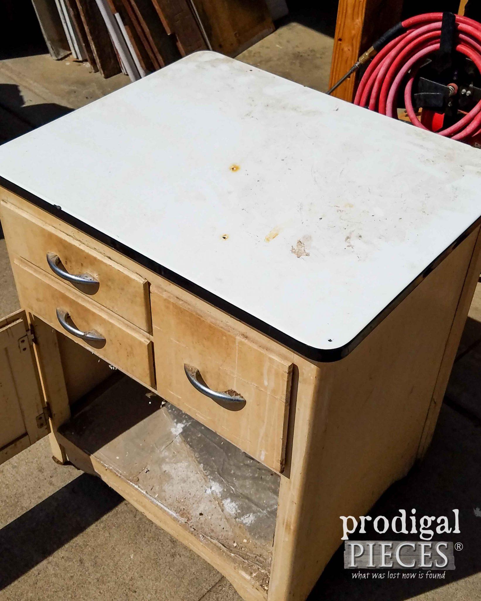 Enamel Top Cabinet Enamel Cabinet Makeover Cottage Style Prodigal Pieces