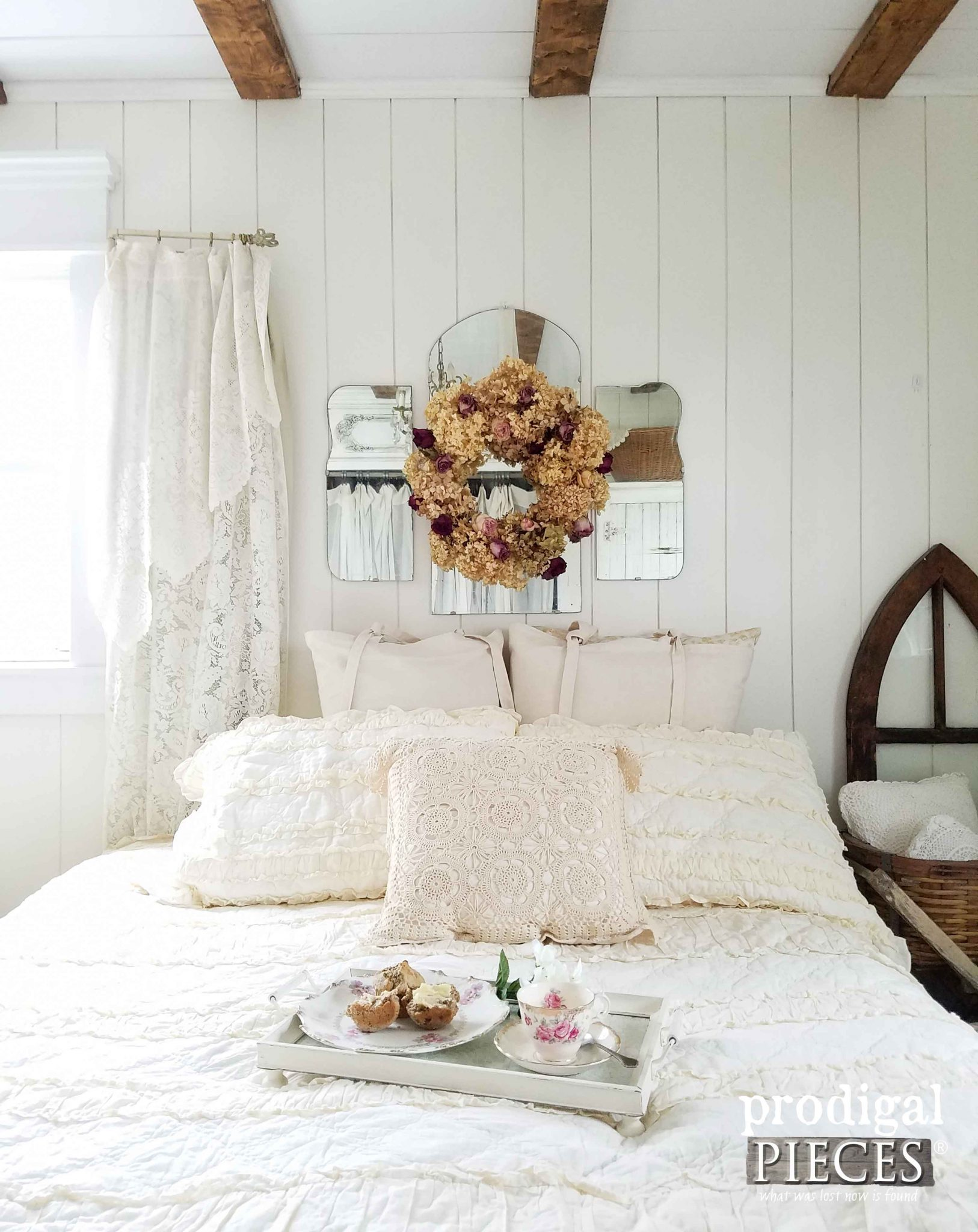 Farmhouse Bedroom with Repurposed Home Decor by Prodigal Pieces | prodigalpieces.com