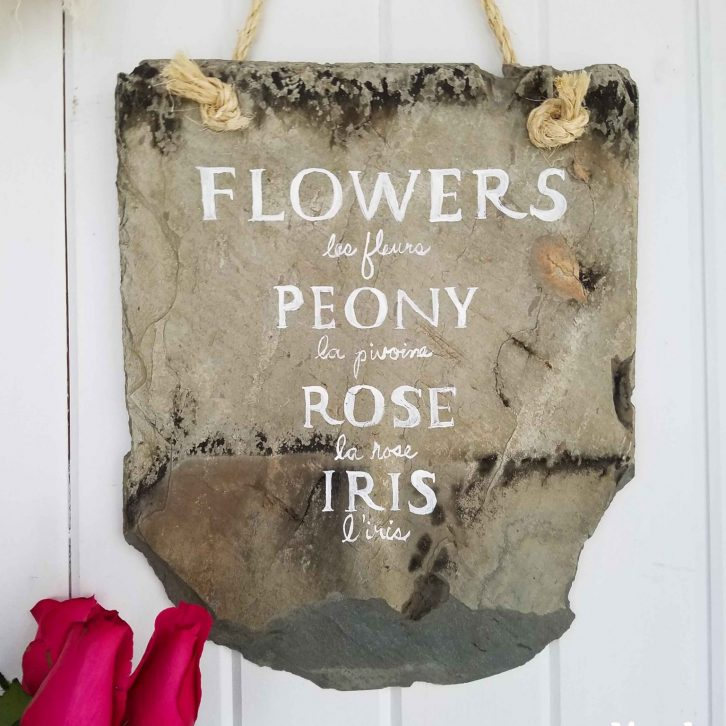 French Flower Slate Sign