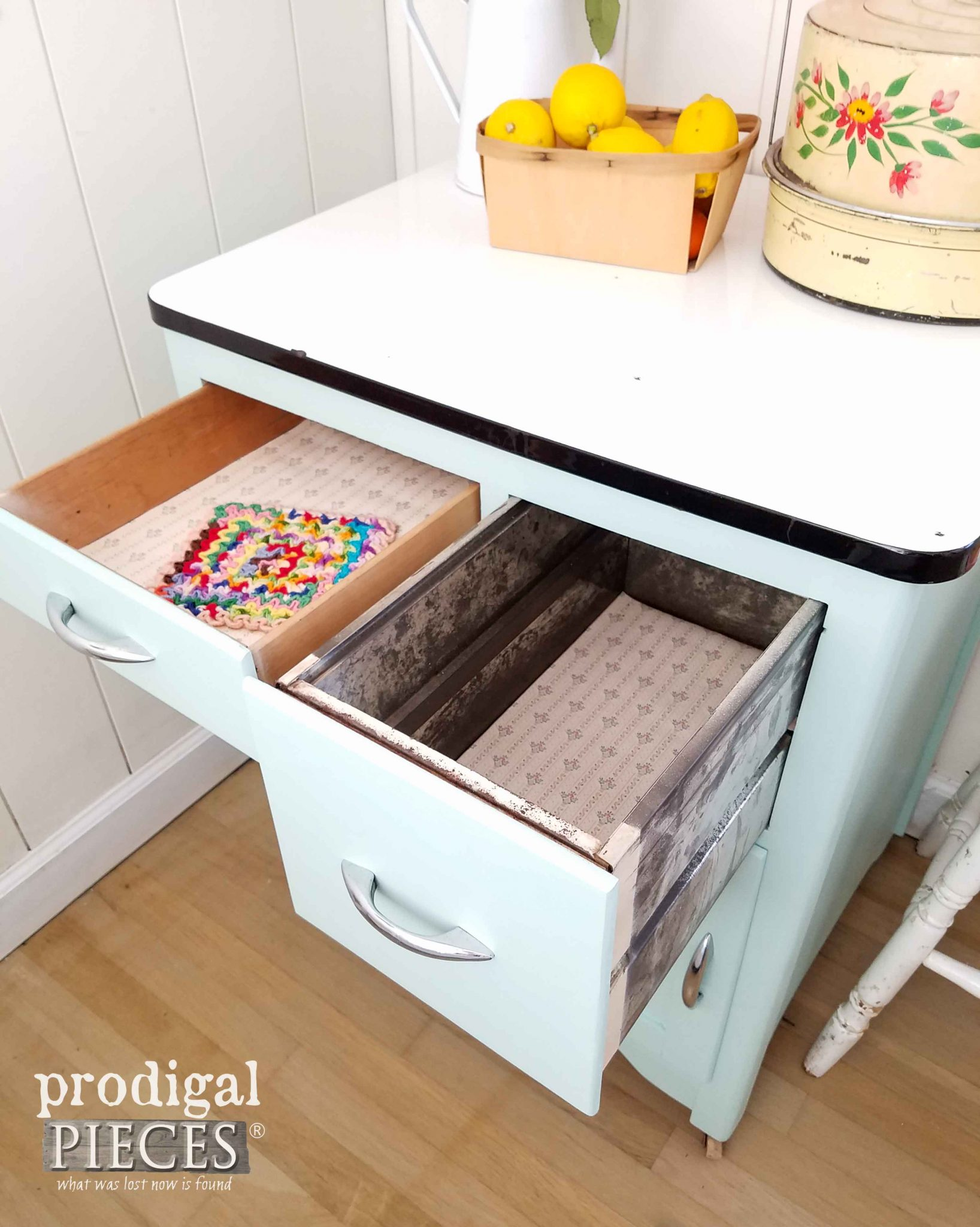Open Bread Drawer on Vintage Enamel Cabinet by Prodigal Pieces | prodigalpieces.com