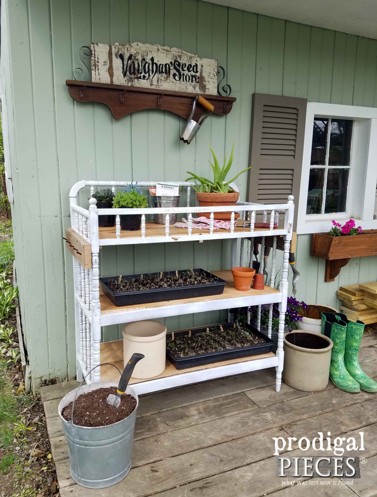 Potting Shed with Repurposed Changing Table Potting Bench by Prodigal Pieces | prodigalpieces.com