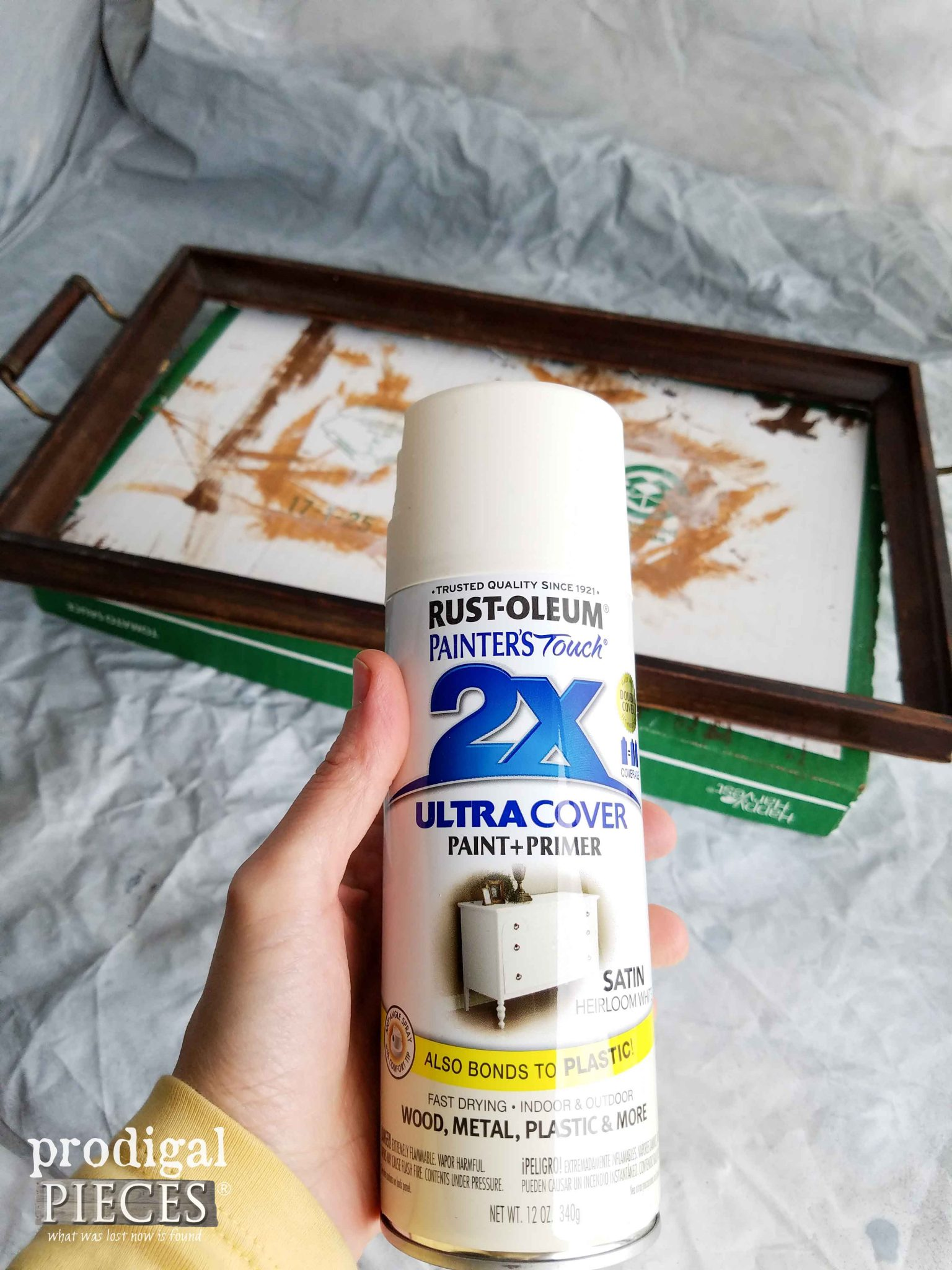 RustOleum Heirloom White for Thrifted Tray Makeover by Prodigal Pieces | prodigalpieces.com