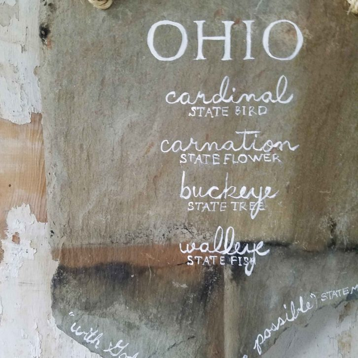 Ohio State Sign on Barn Roof Slate