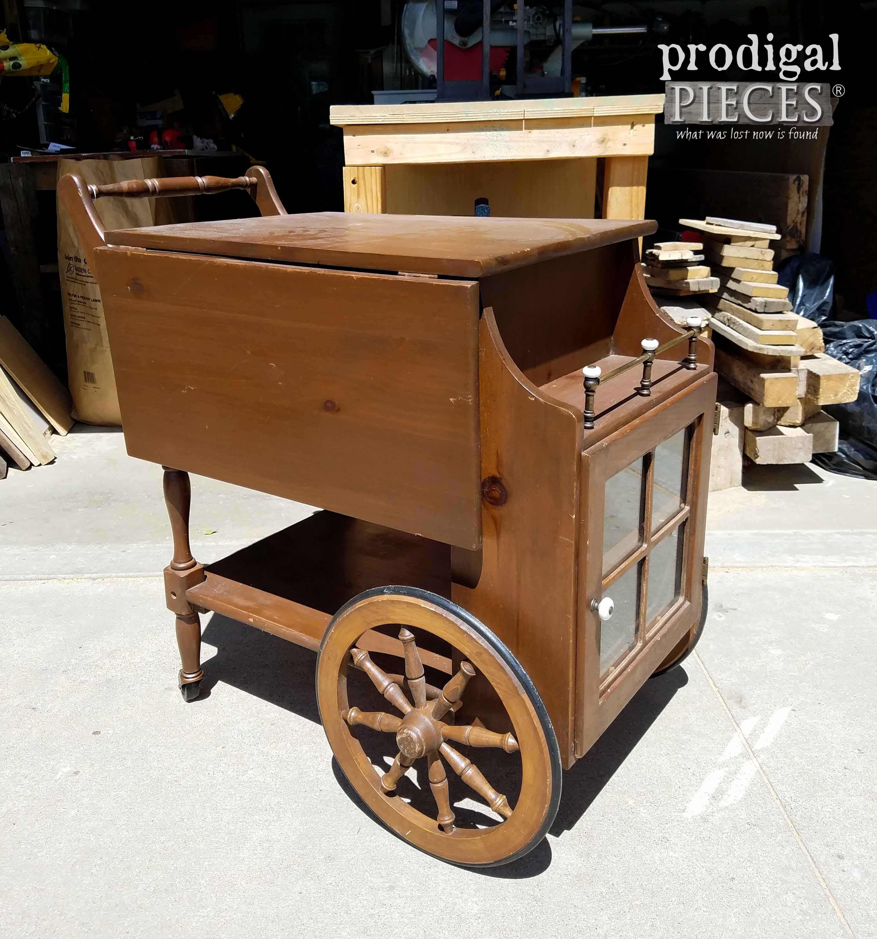 Vintage Tea Cart Before Makeover by Prodigal Pieces | prodigalpieces.com