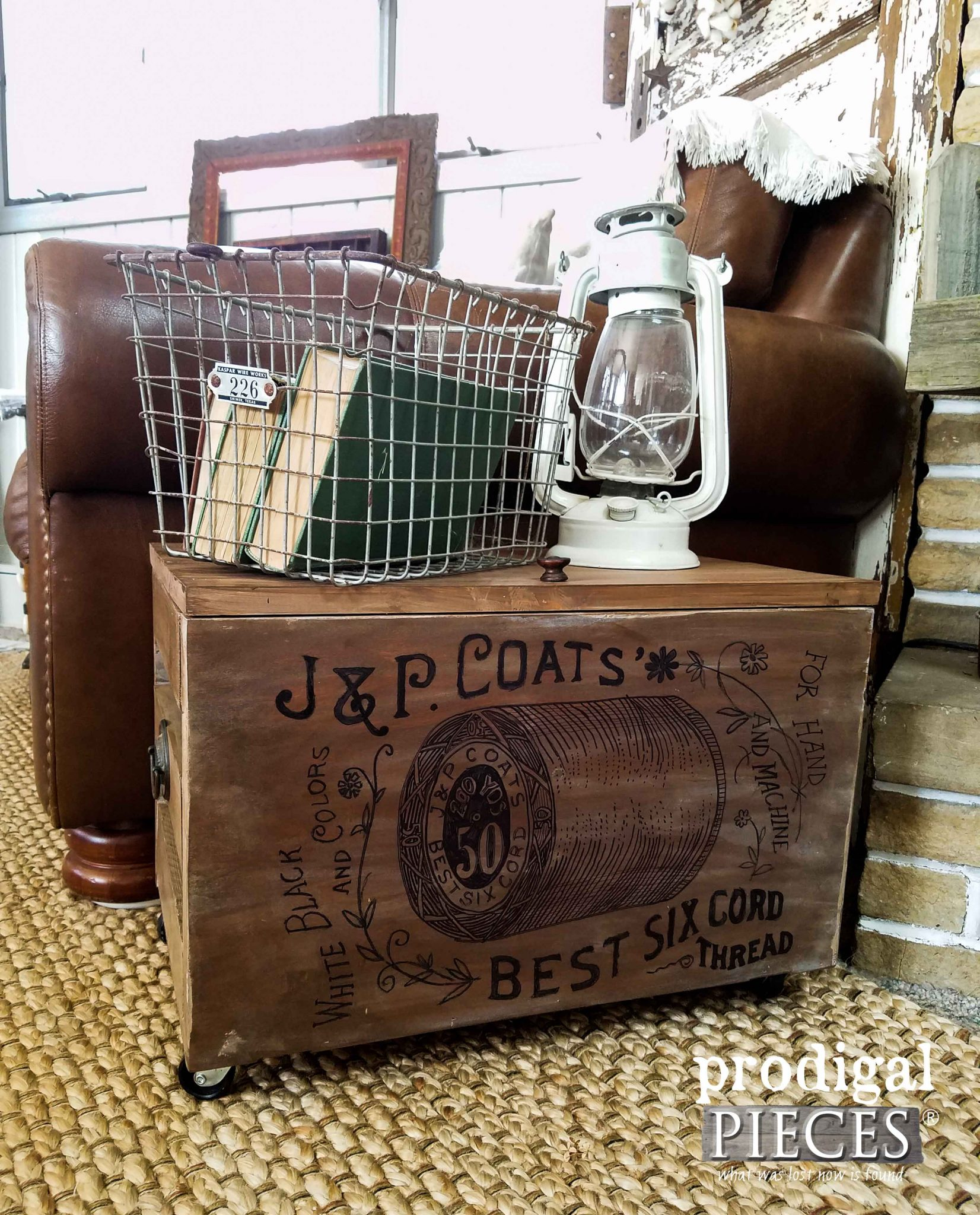 J & P Coats Thread Repurposed Crate DIY by Prodigal Pieces | prodigalpieces.com