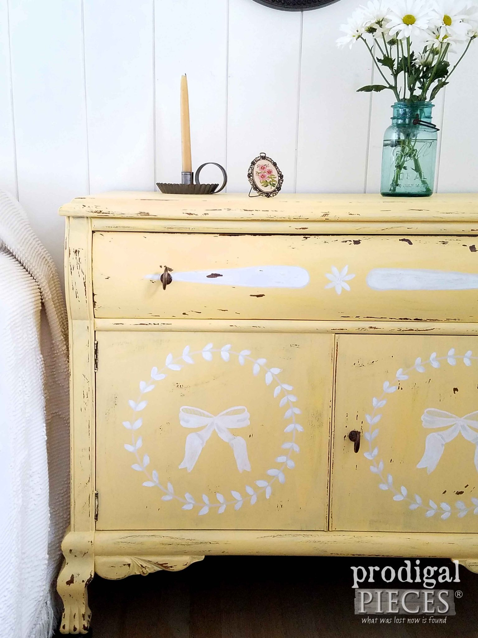Yellow Chest of Drawers in Prairie Style Bedroom by Larissa of Prodigal Pieces | prodigalpieces.com