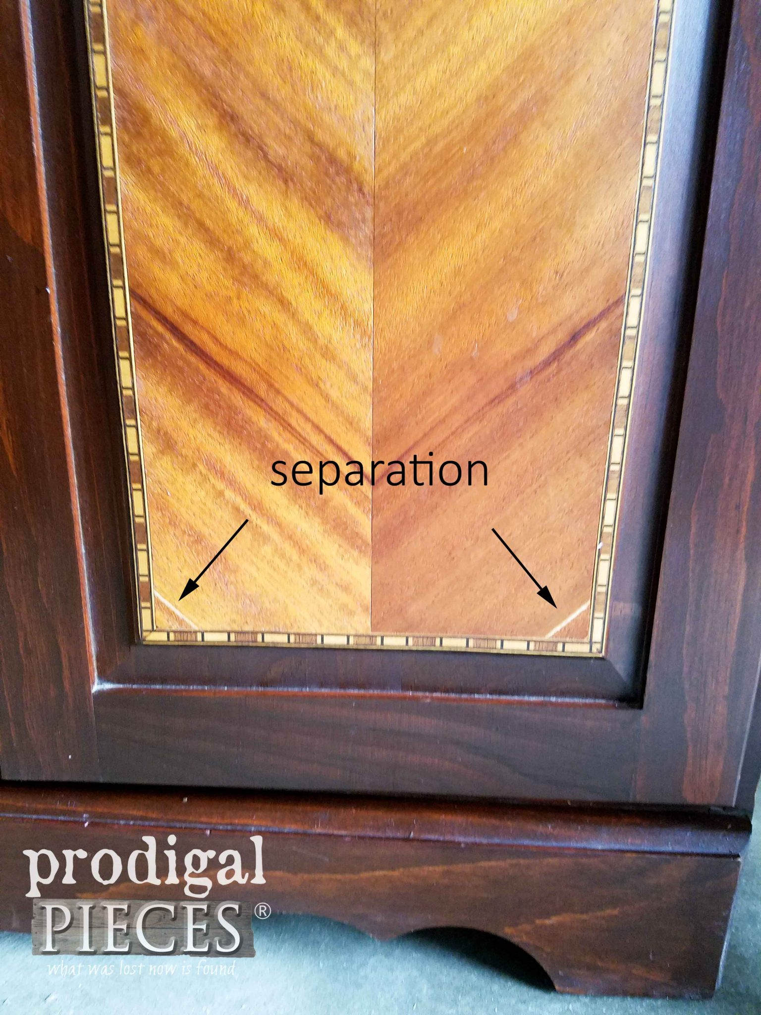 Damaged Inlay on Cabinet | prodigalpieces.com
