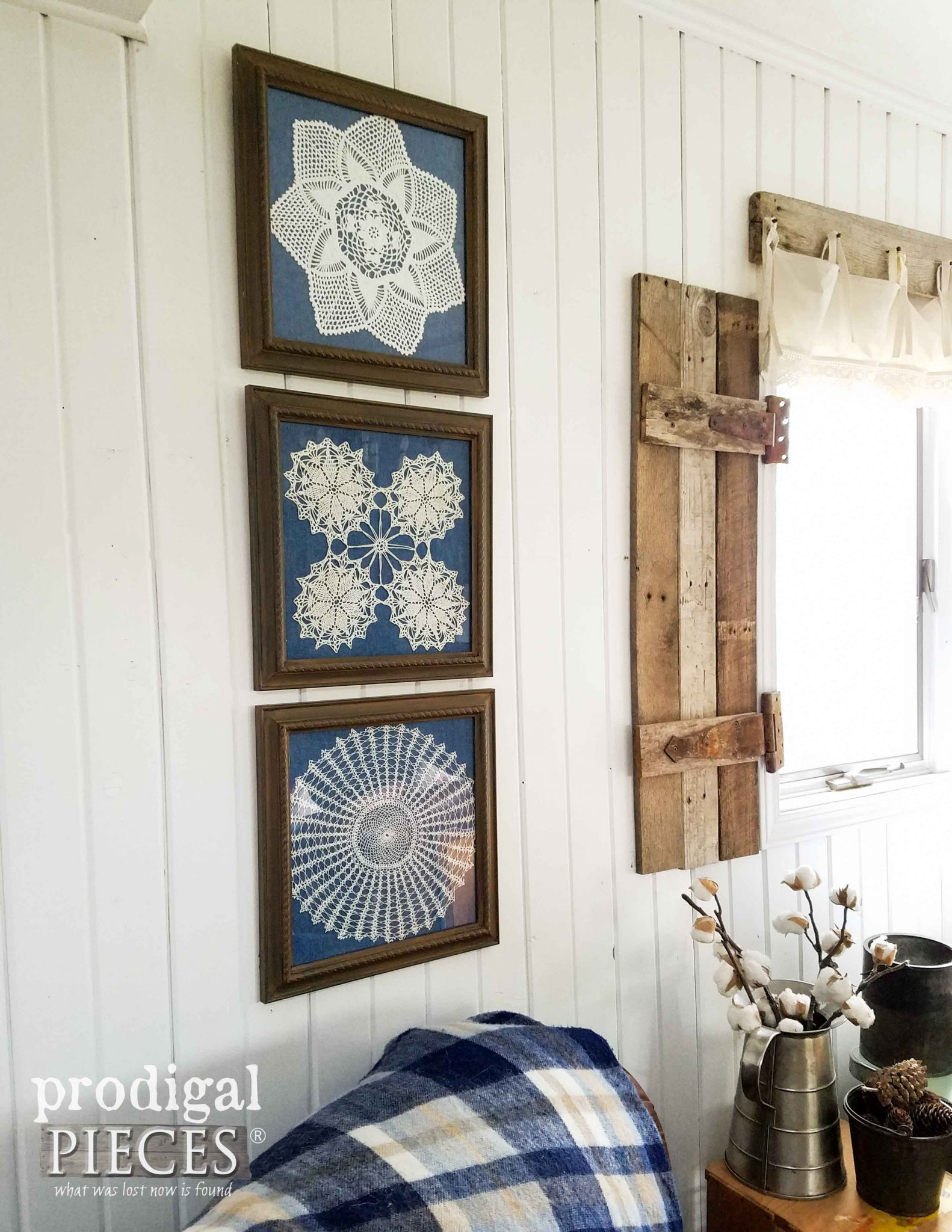 framed doily wall art from curbside finds prodigal pieces. Black Bedroom Furniture Sets. Home Design Ideas