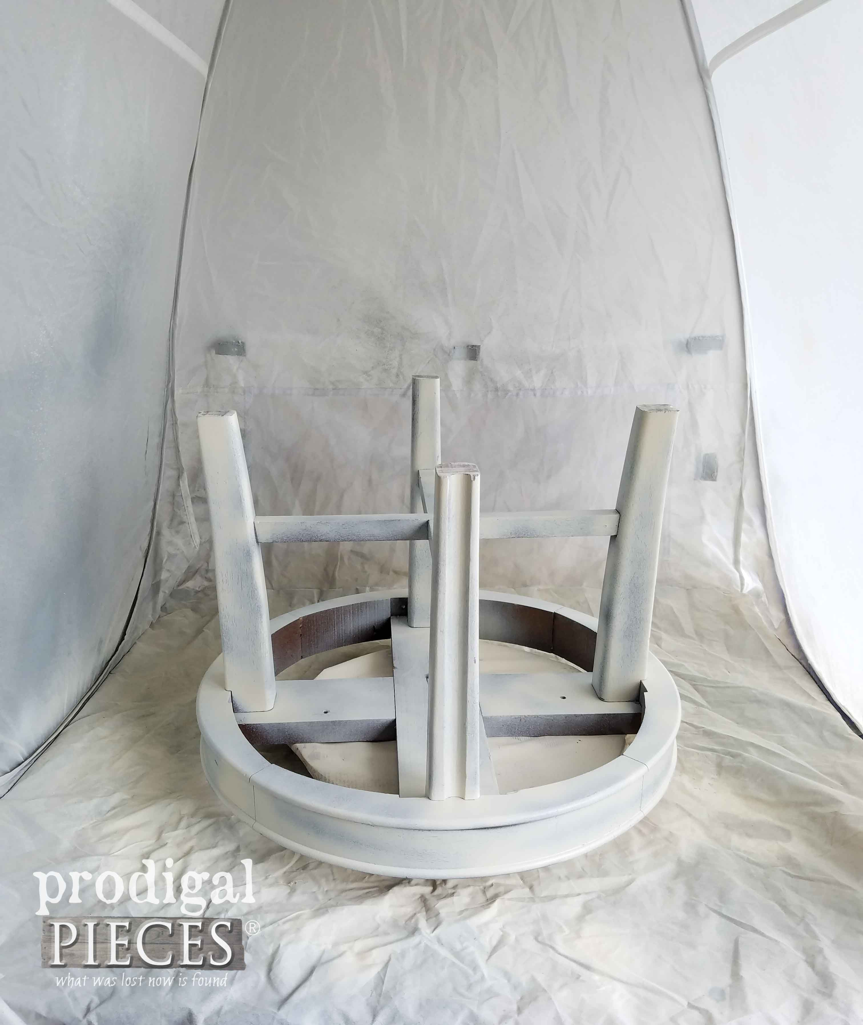 Vintage Footstool Painted in HomeRight Spray Shelter by Prodigal Pieces | prodigalpieces.com