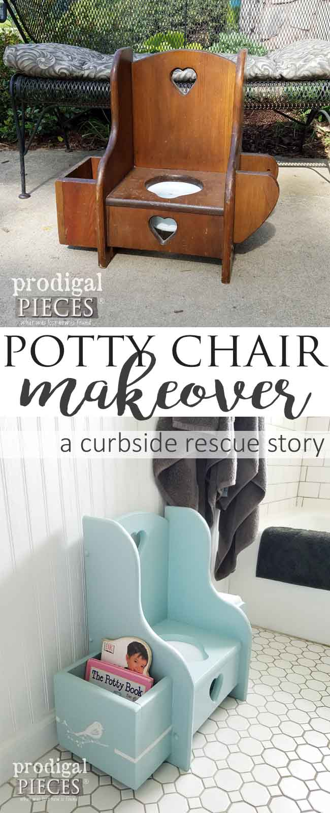 From Curbside to Trashure (one man's trash is another one's treasure), the Potty Chair Makeover is all about that cute factor. Come see how it's done at Prodigal Pieces | prodigalpieces.com