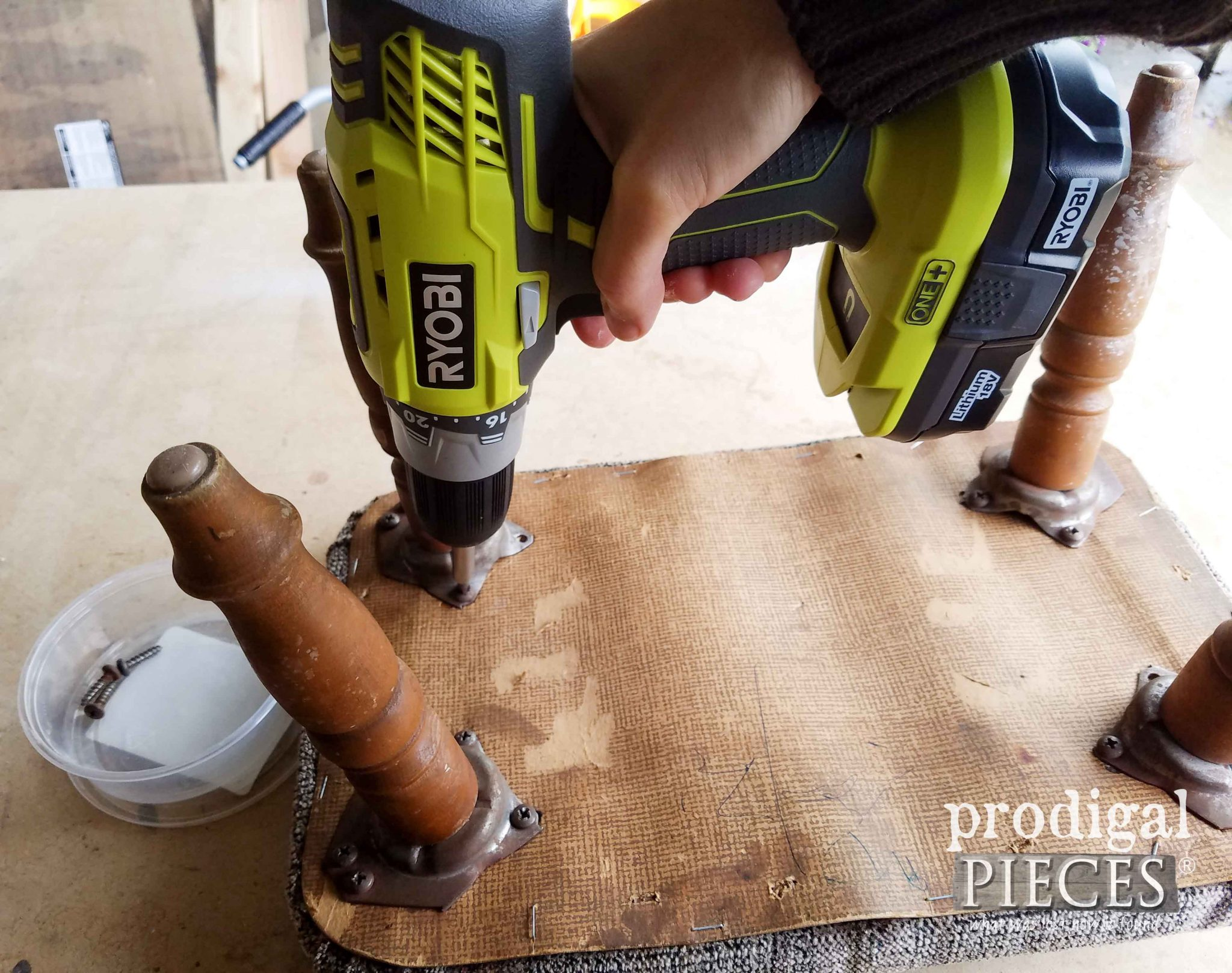 Removing Footstool Legs for Upholstery | prodigalpieces.com