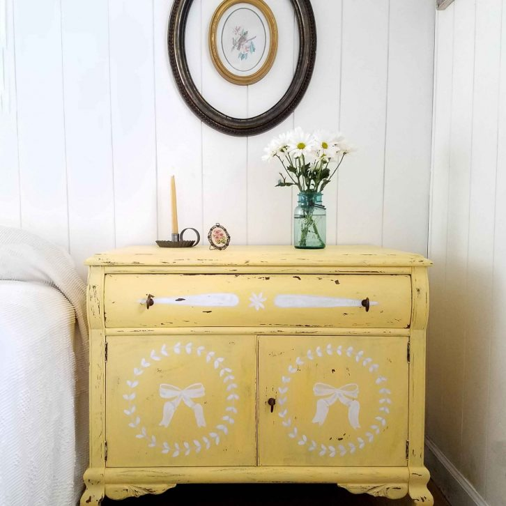Rustic Yellow Vintage Chest with Hand-Painted Designs by Larissa of Prodigal Pieces | prodigalpieces.com