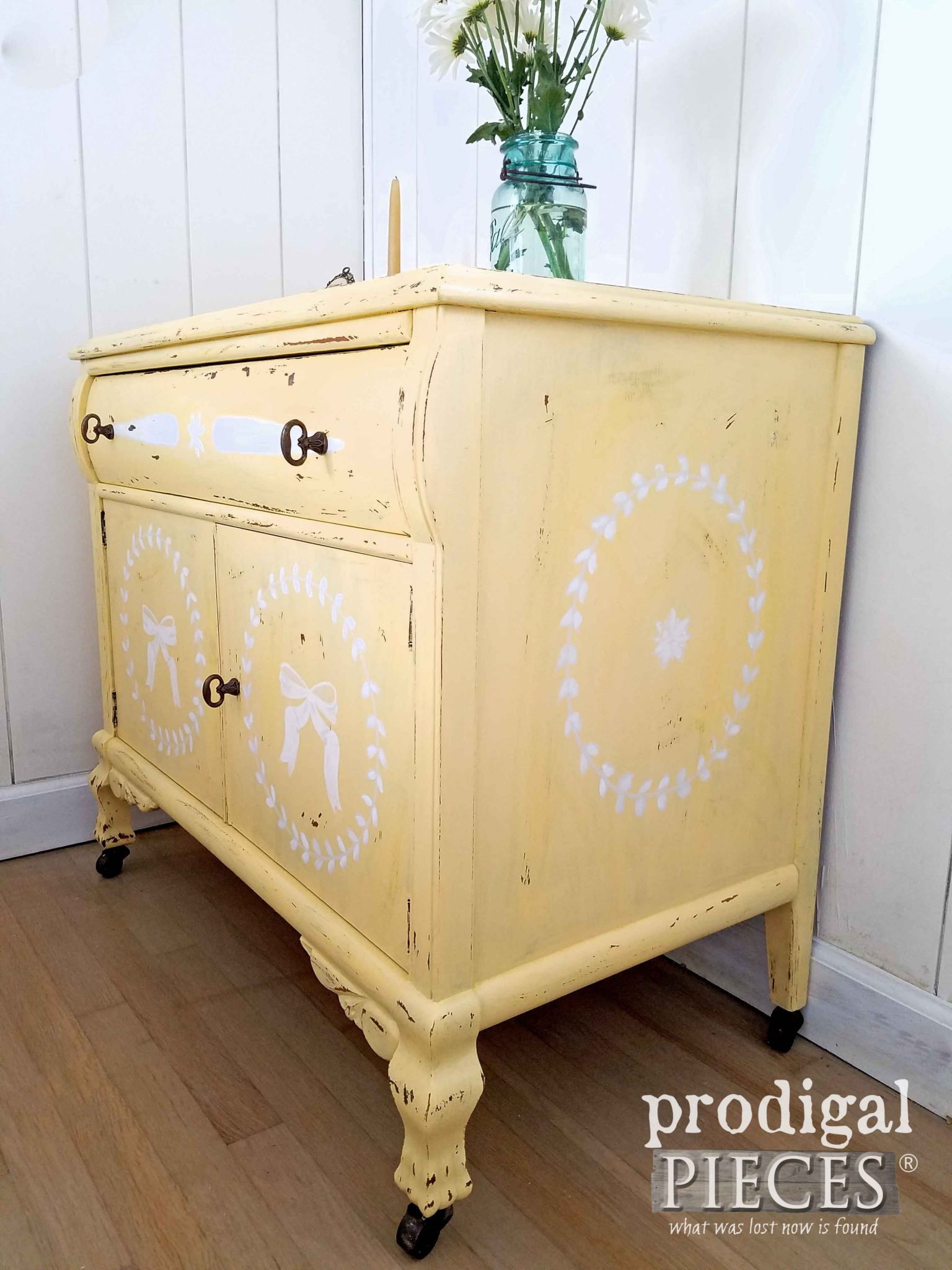 Hand-Painted Yellow Chest by Larissa of Prodigal Pieces | prodigalpieces.com