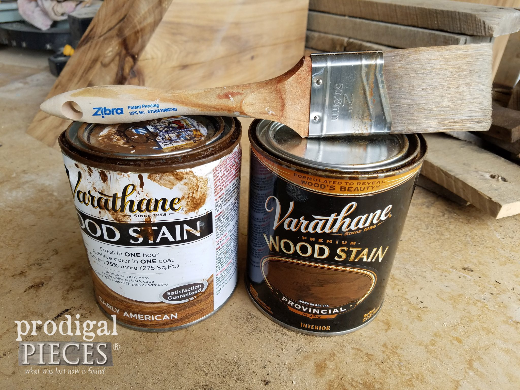 Zibra Brush and RustOleum Stains for Farmhouse Chic Look | prodigalpieces.com