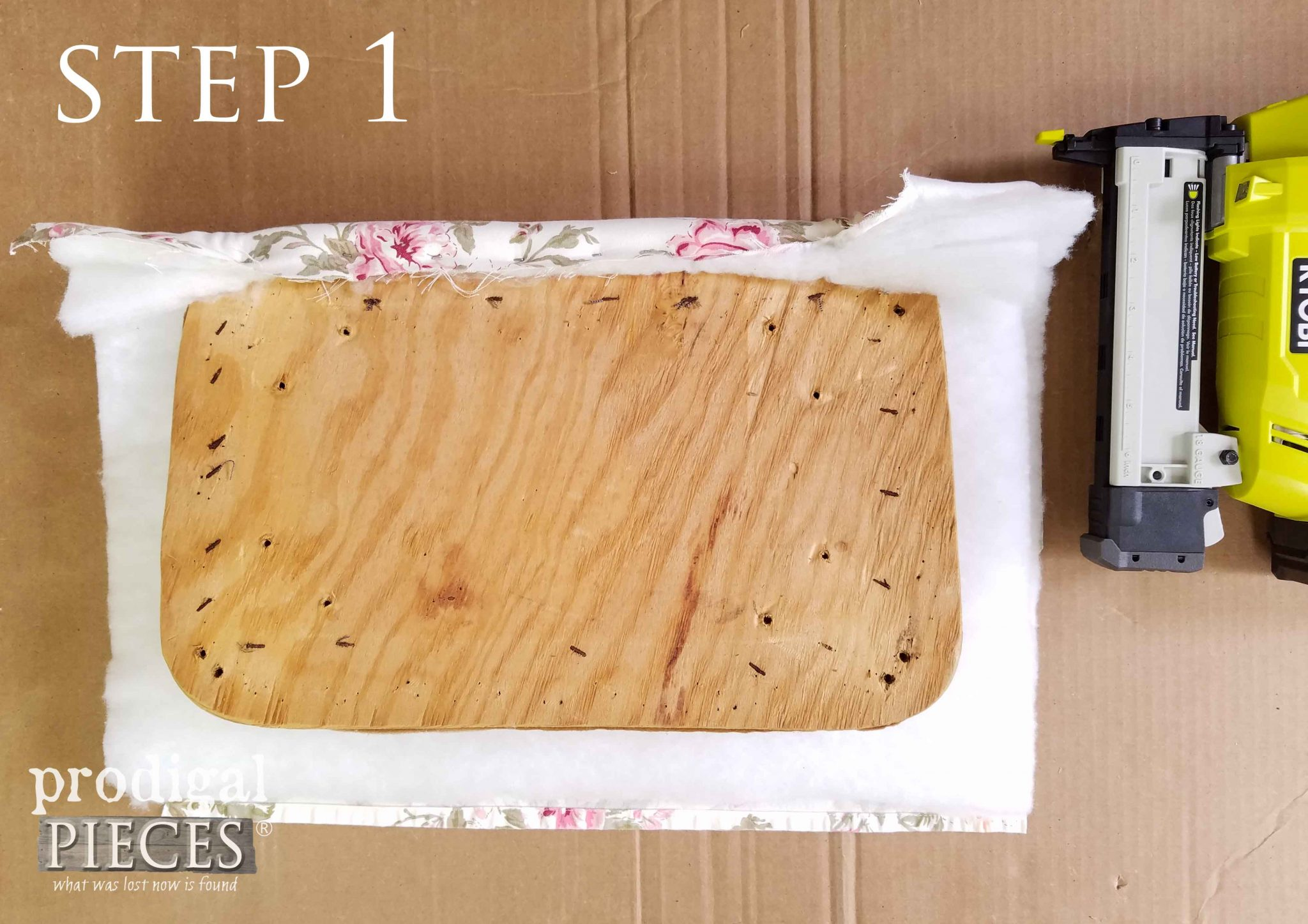 Step 1 of Upholstering Footstool | prodigalpieces.com