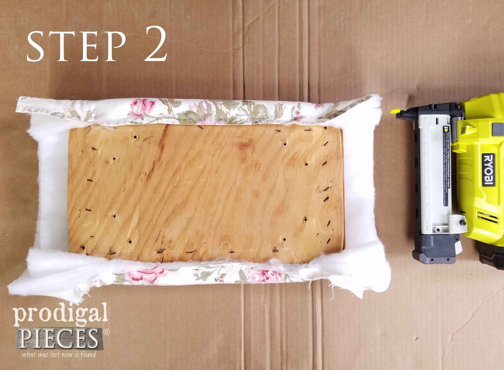 Step 2 of Upholstering Footstool | prodigalpieces.com