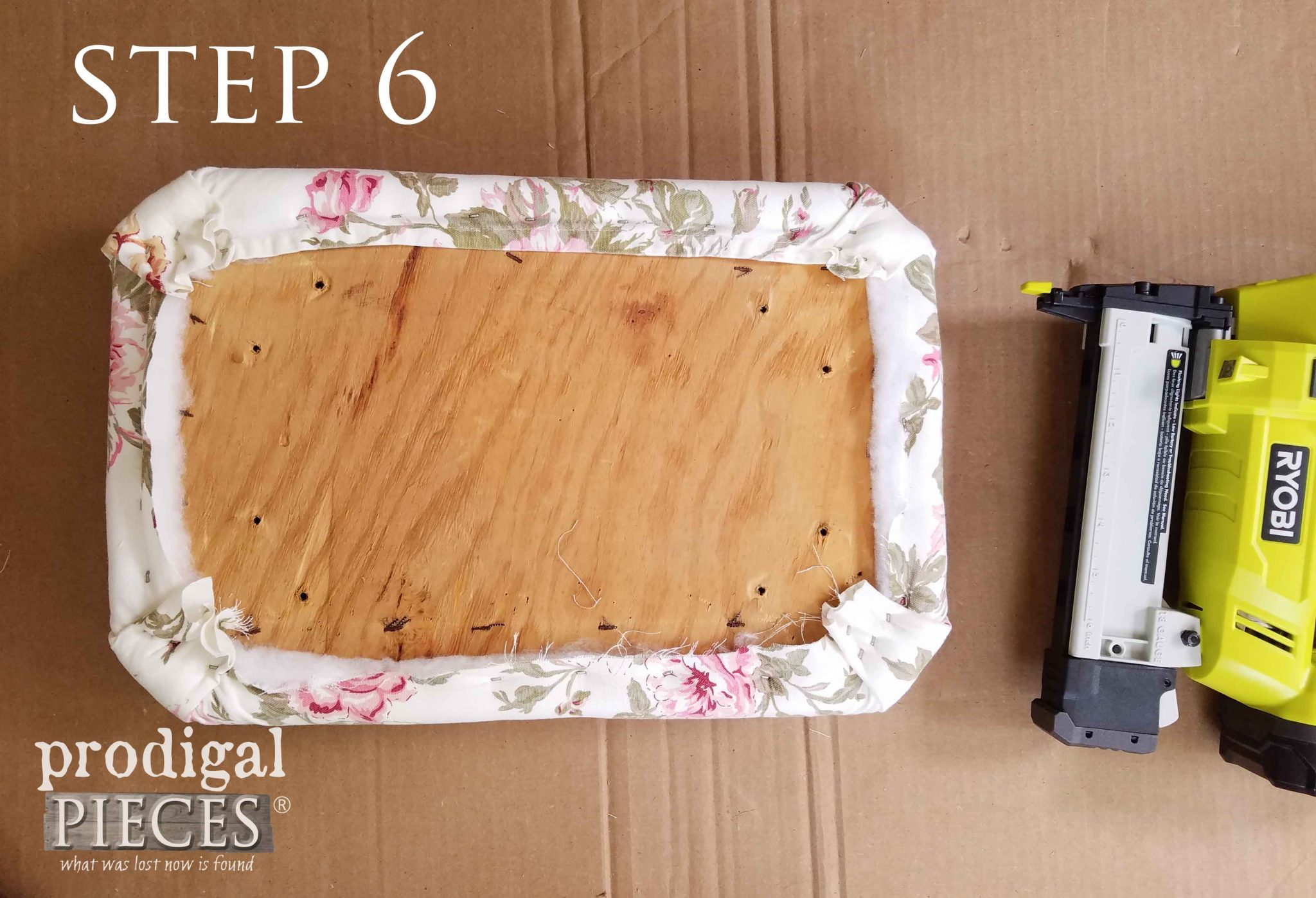 Step 6 of Upholstering Footstool - Trimming | prodigalpieces.com