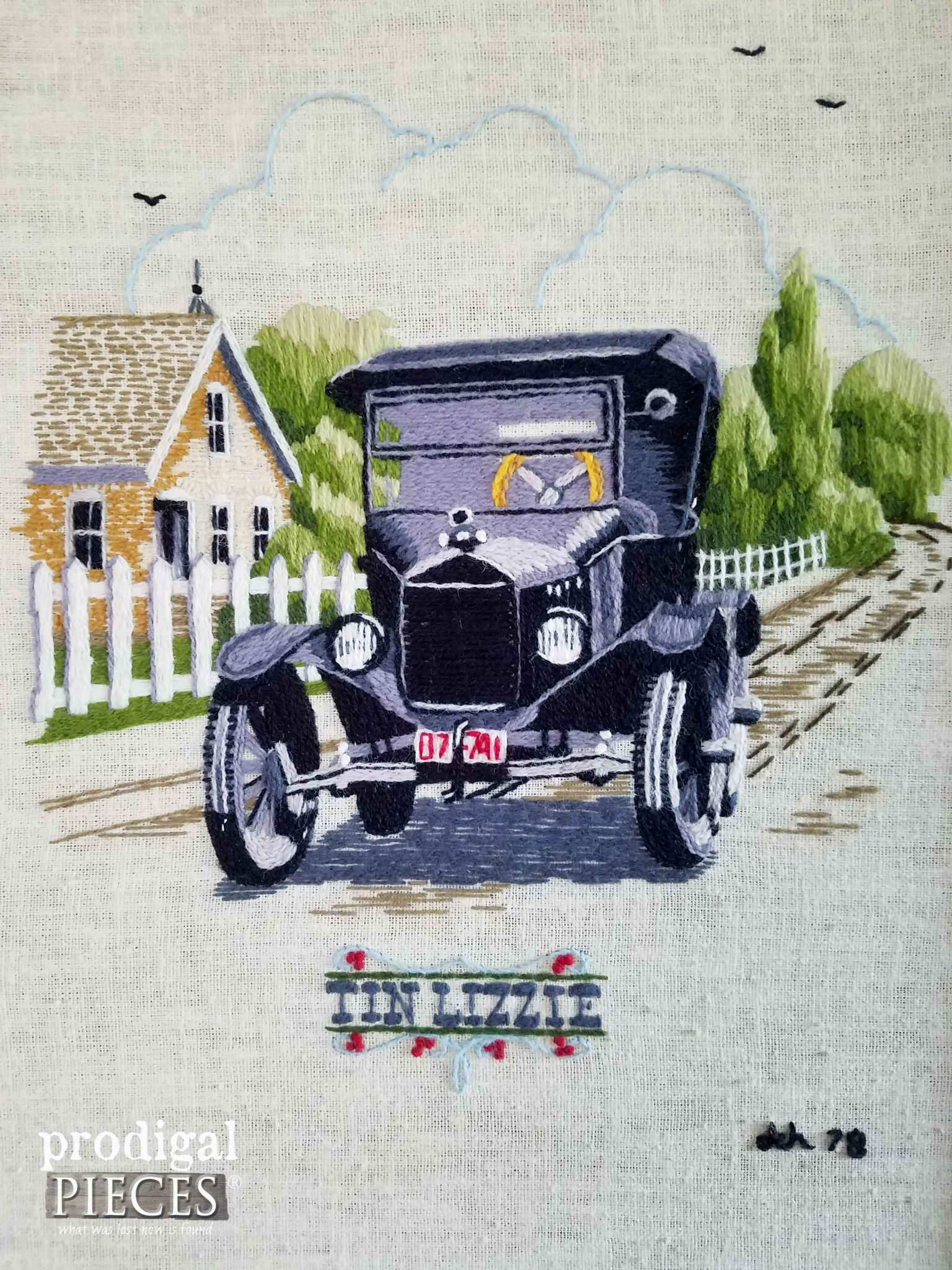 Tin Lizzie Embroidered Wall Art at Prodigal Pieces | prodigalpieces.com