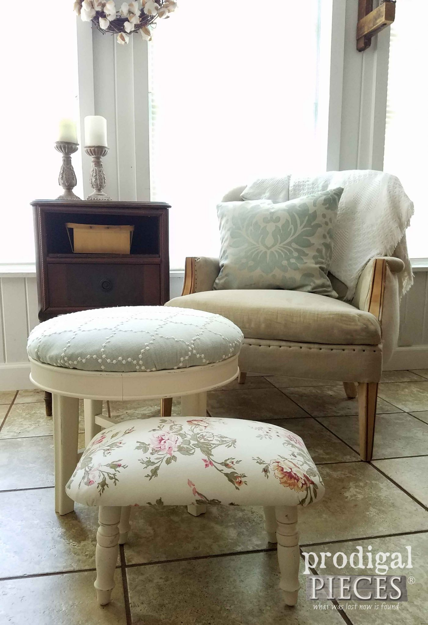 Vintage Footstool Upholstery with DIY tutorial by Prodigal Pieces | prodigalpieces.com