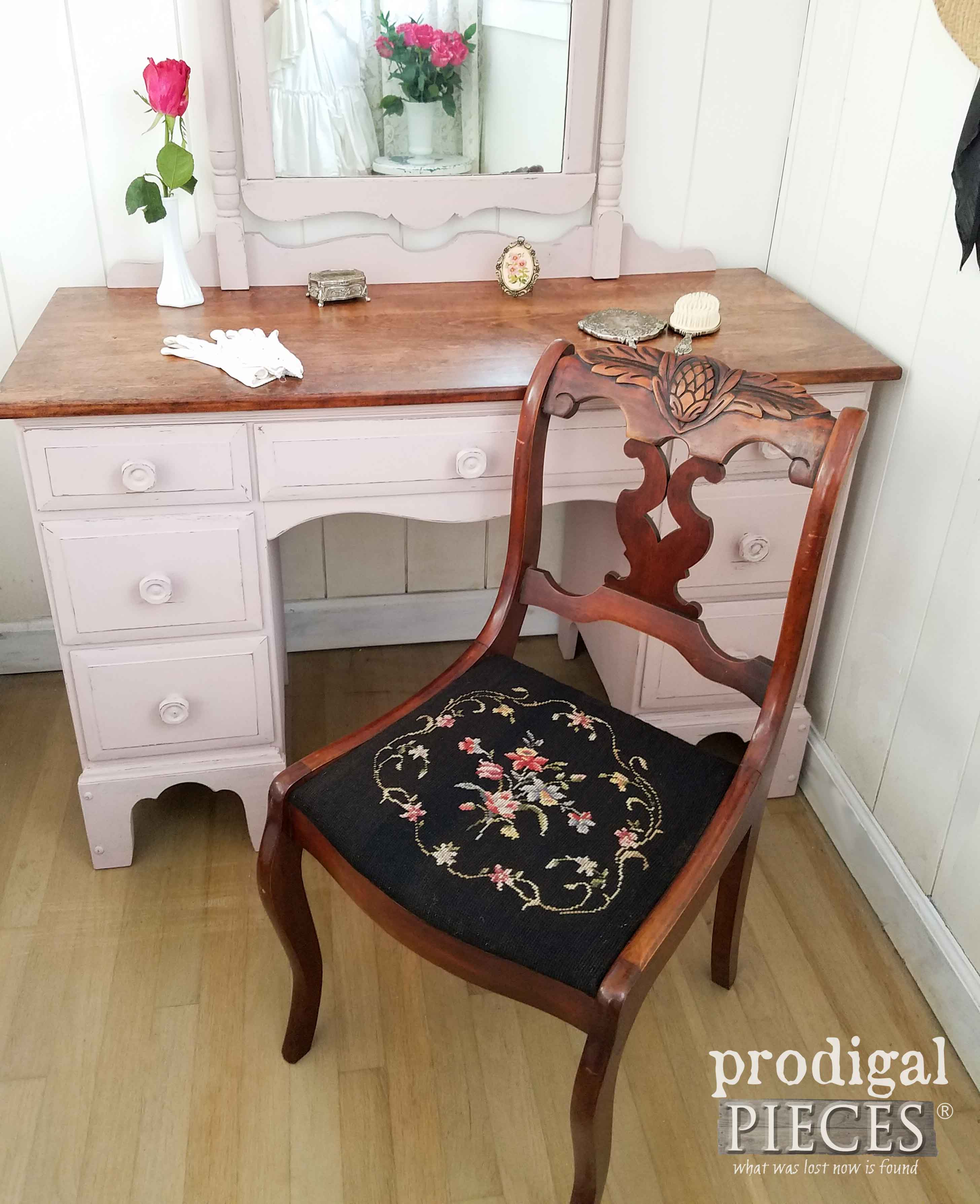 Antique Needlepoint Chair for Vintage Vanity by Prodigal Pieces | prodigalpieces.com