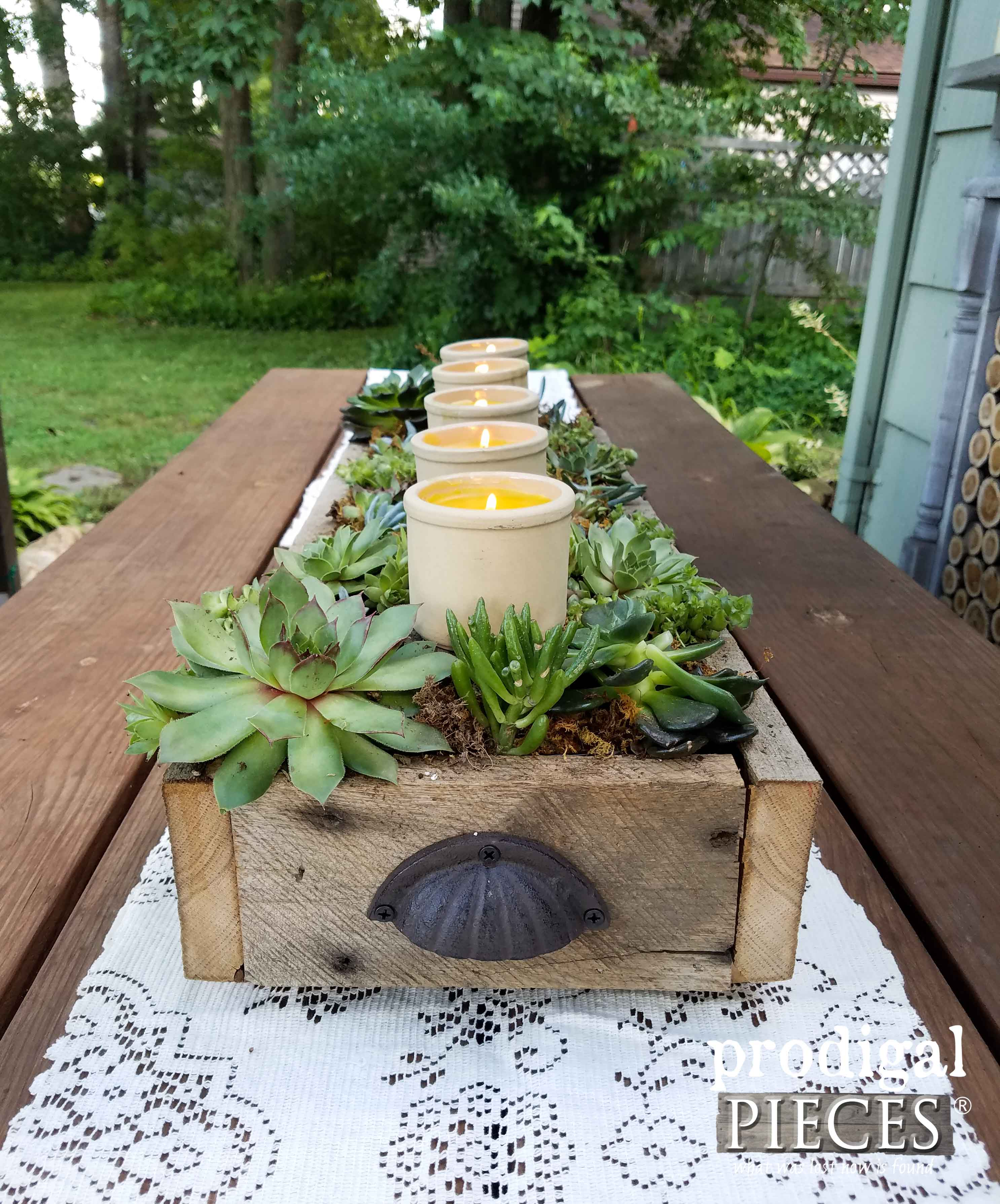 Reclaimed Barn Wood and Succulent Centerpiece with Tutorial by Prodigal Pieces | prodigalpieces.com