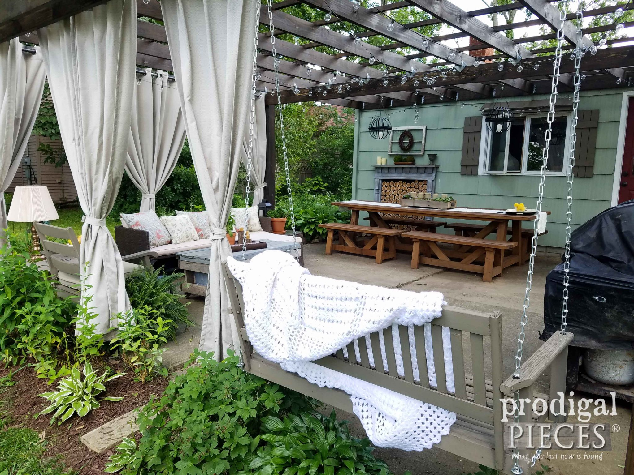 Dining Area Under Pergola on Patio ~ Design by Prodigal Pieces | prodigalpieces.com