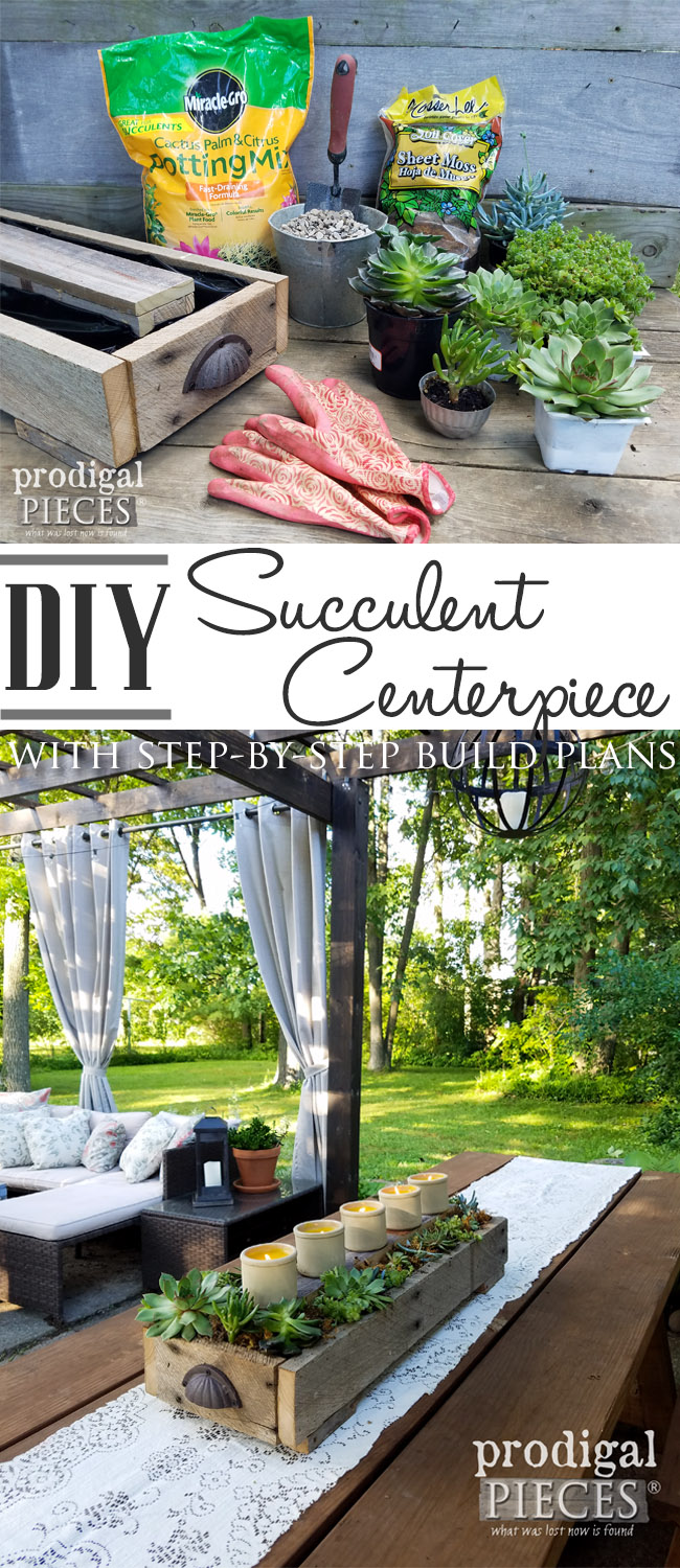 Get your build on with this simple, yet gorgeous DIY succulent planter. Use it for weddings, indoor, and outdoor decor. Plans here at Prodigal Pieces | prodigalpieces.com