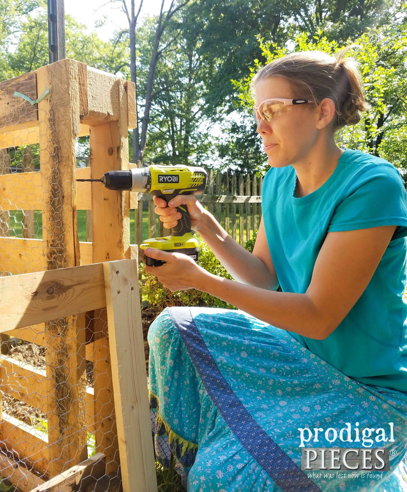 Drilling Holes for Screens on Compost Bin | prodigalpieces.com