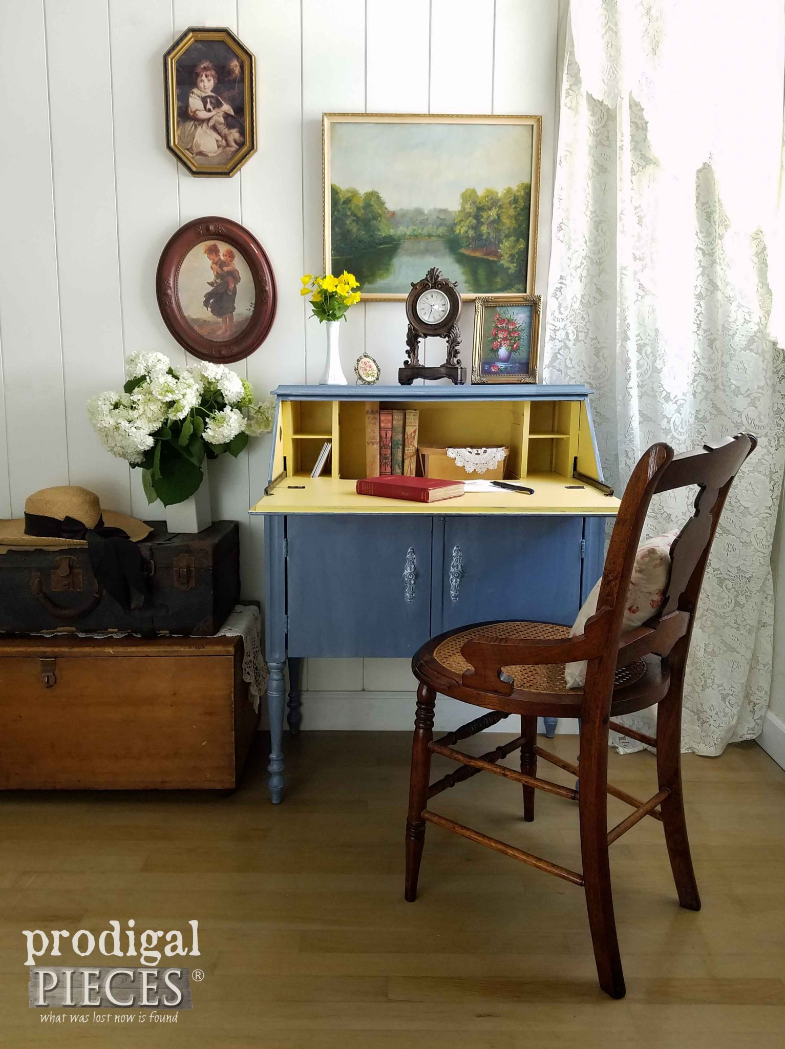 English Style Secretary Desk with blue and a pop of yellow by Prodigal Pieces | prodigalpieces.com
