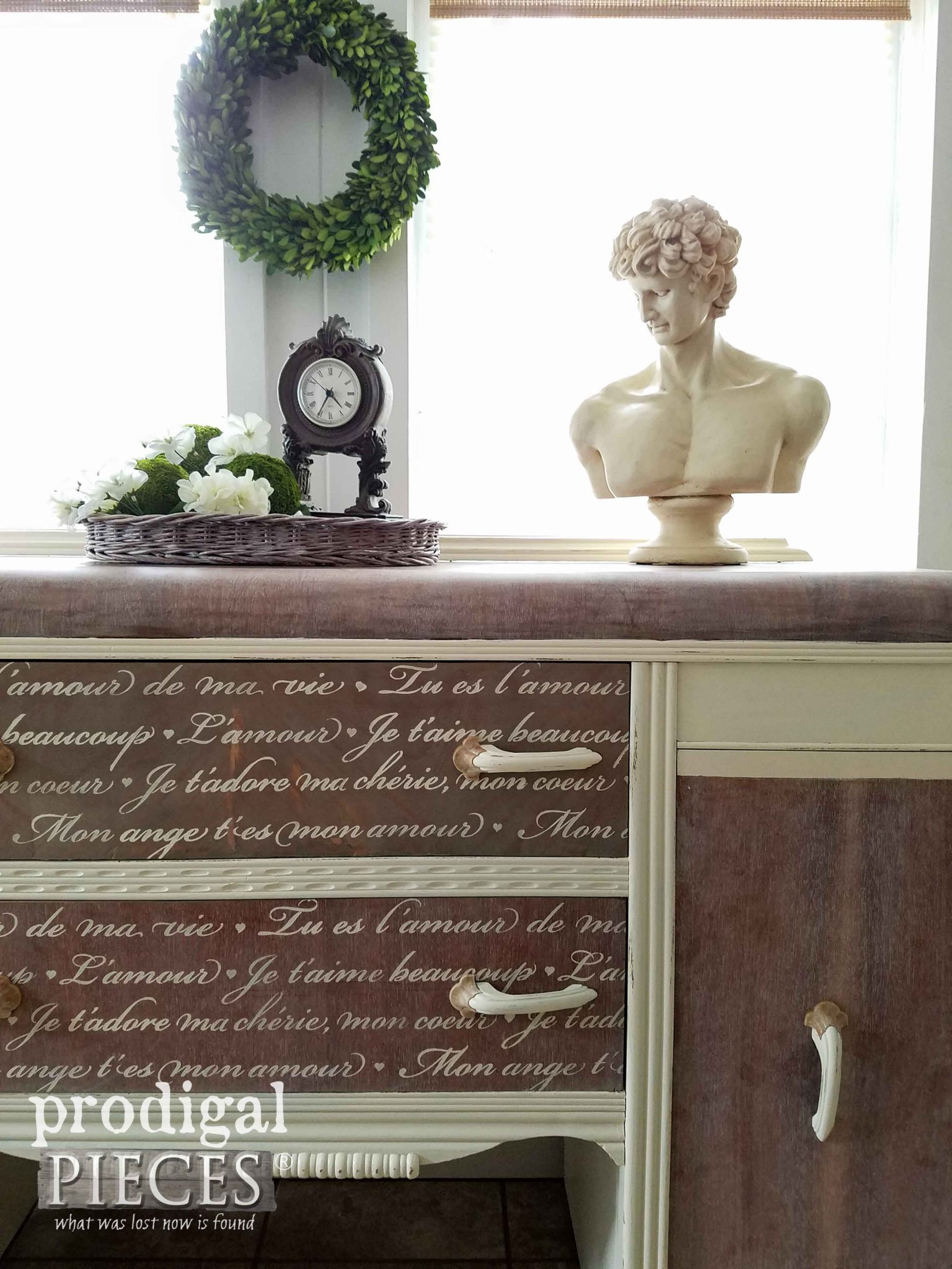 French Script Stencil on Vintage Waterfall Buffet by Prodigal Pieces | prodigalpieces.com